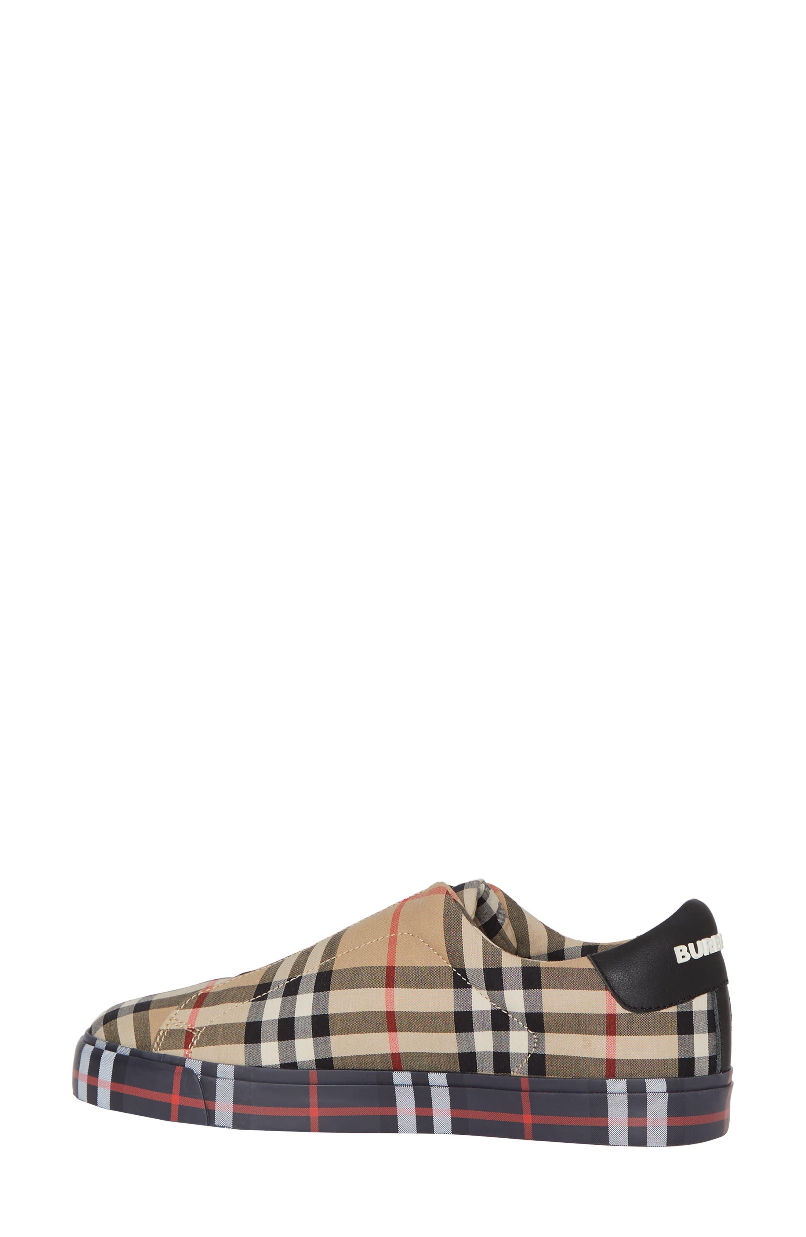 BURBERRY, Markham Vintage Check Slip-On Sneaker, Alternate thumbnail 2, color, BEIGE PLAID