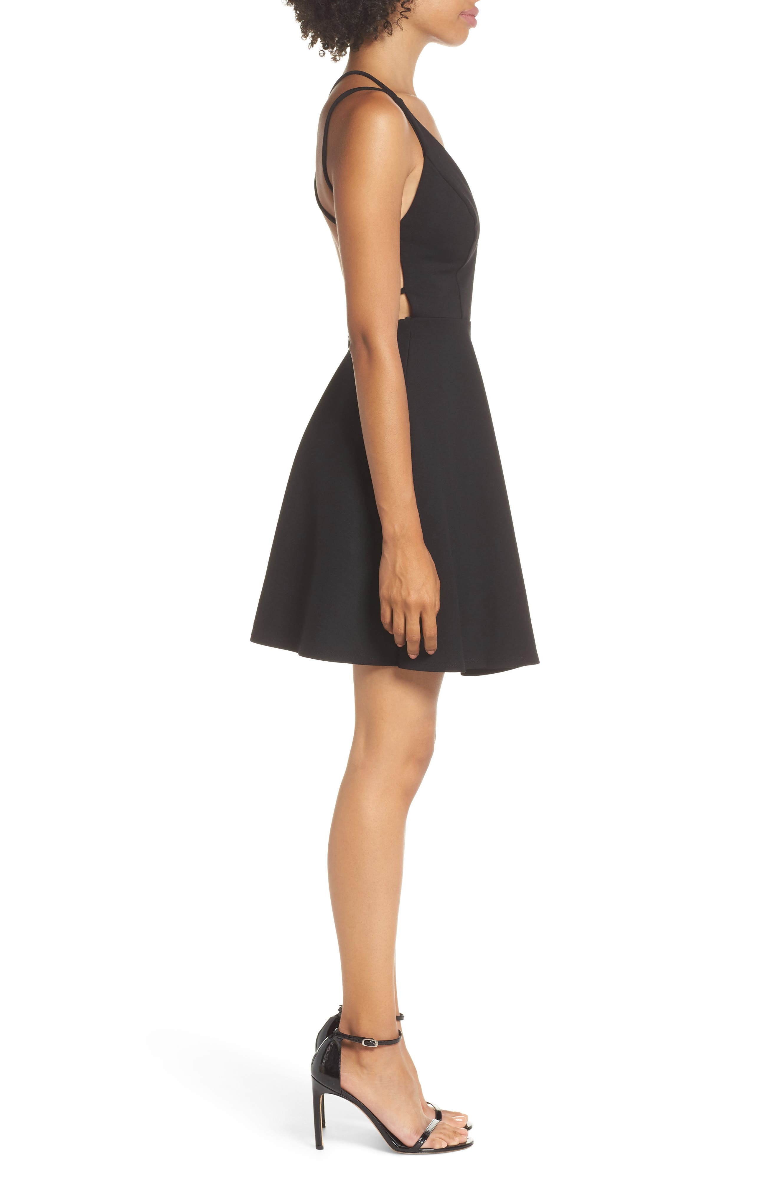 LULUS, Believe in Love Strappy Back Skater Dress, Alternate thumbnail 3, color, BLACK