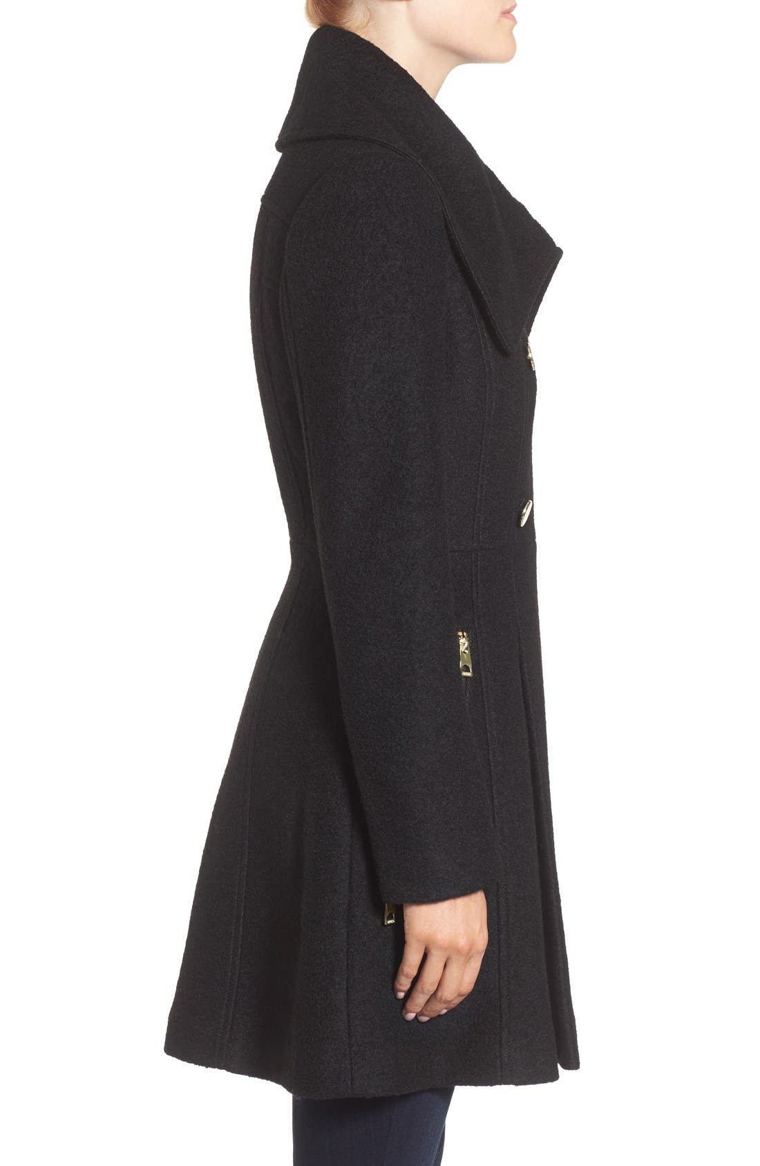 GUESS, Envelope Collar Double Breasted Coat, Alternate thumbnail 2, color, 001
