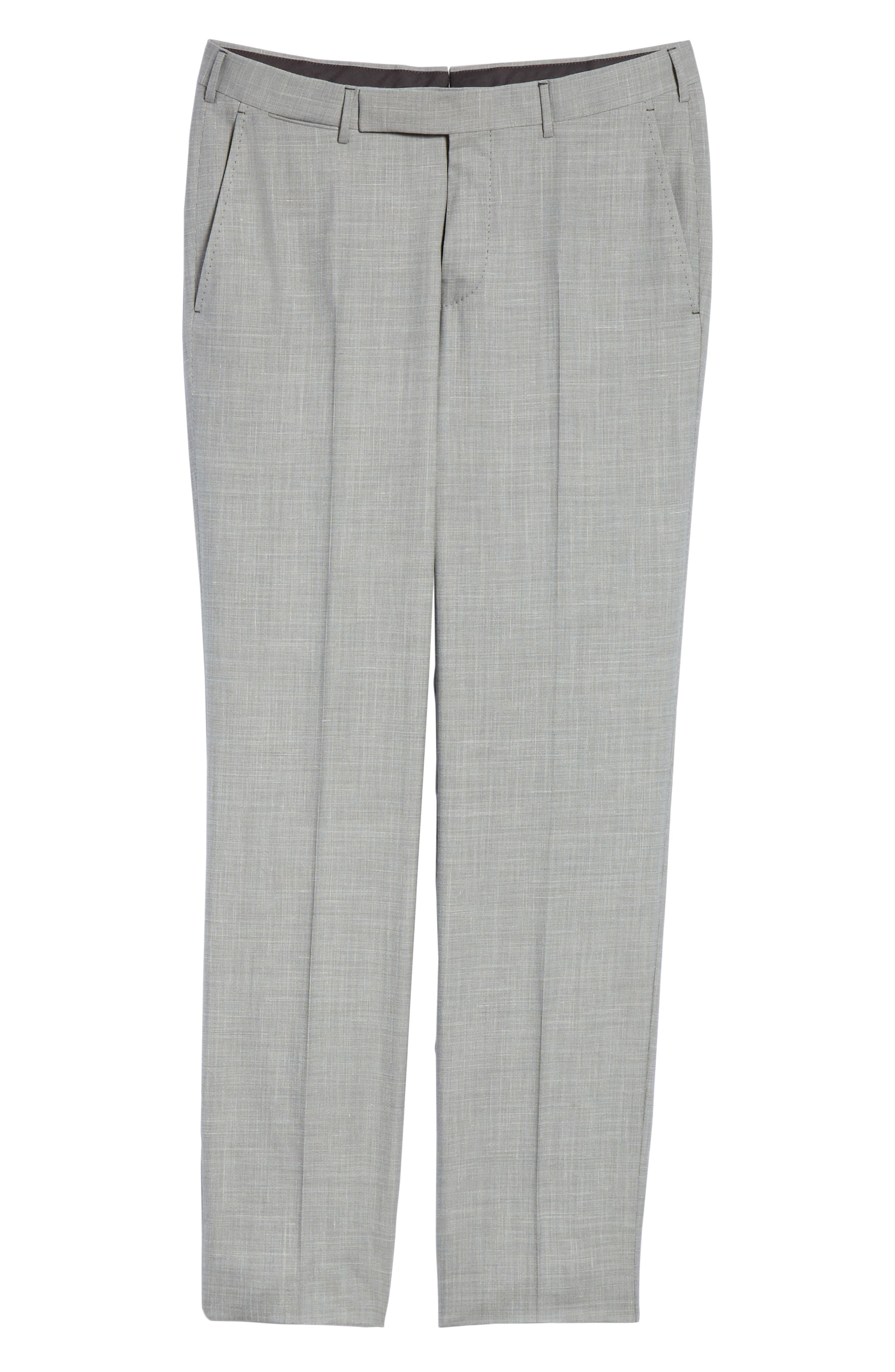 ERMENEGILDO ZEGNA, Trofeo Flat Front Solid Wool Blend Trousers, Alternate thumbnail 6, color, LIGHT GREY