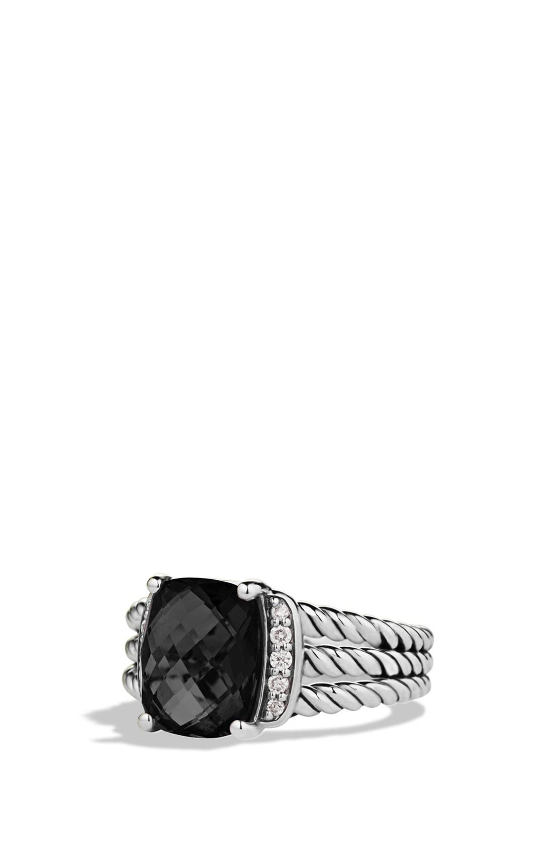 DAVID YURMAN, 'Wheaton' Petite Ring with Semiprecious Stone & Diamonds, Main thumbnail 1, color, BLACK ONYX