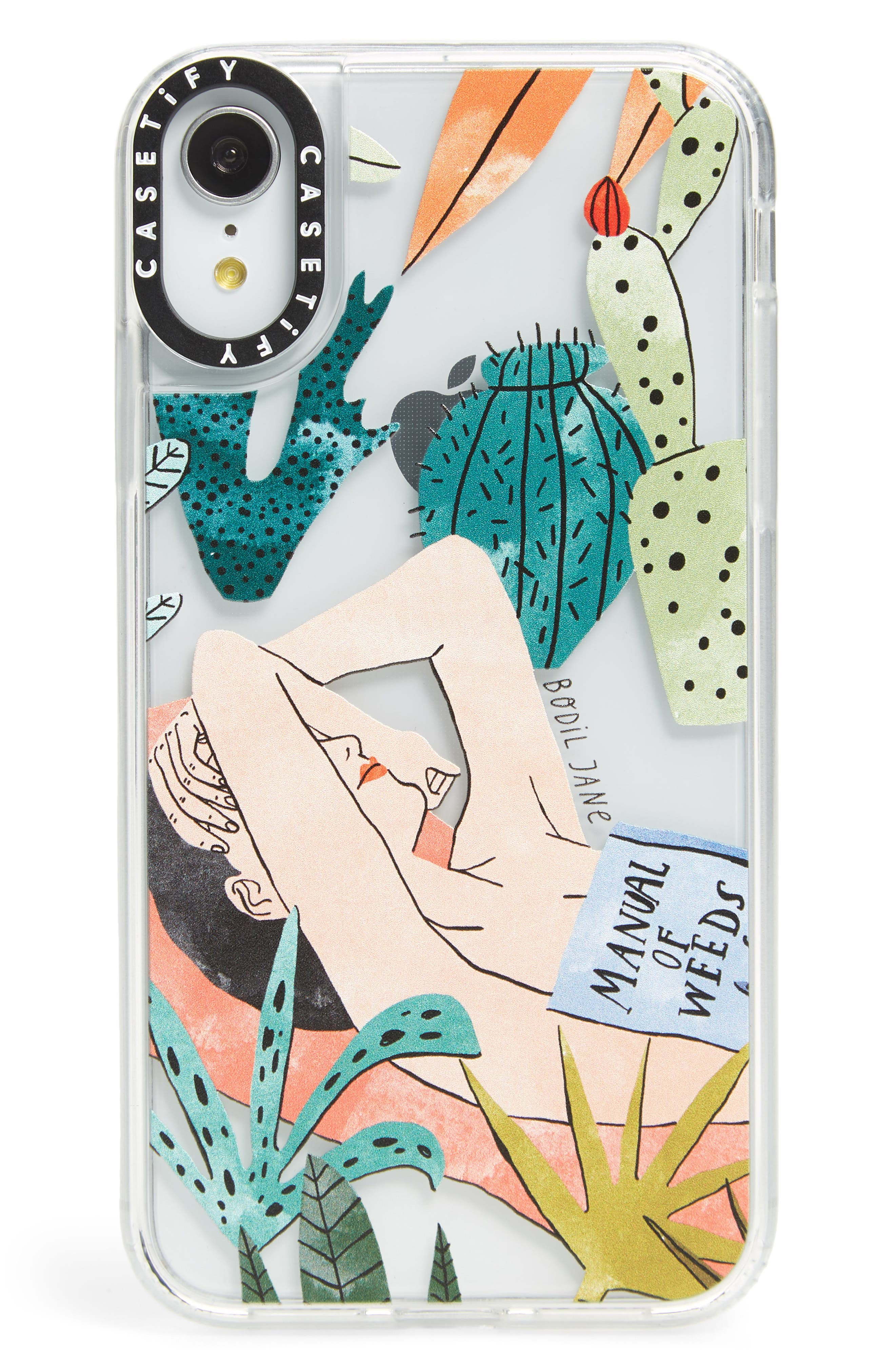 CASETIFY, Beach Girl iPhone X/Xs/Xs Max & XR Case, Main thumbnail 1, color, GREEN/ TAN/ BLACK
