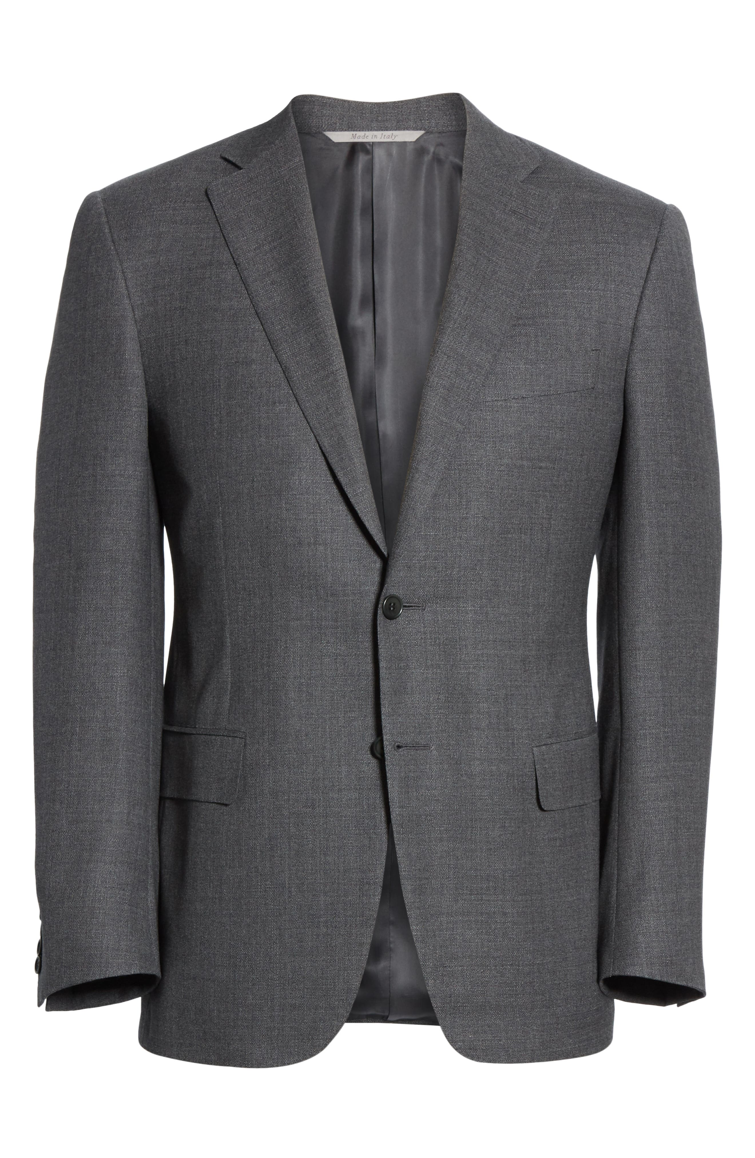 CANALI, Sienna Classic Fit Solid Wool Sport Coat, Alternate thumbnail 5, color, CHARCOAL