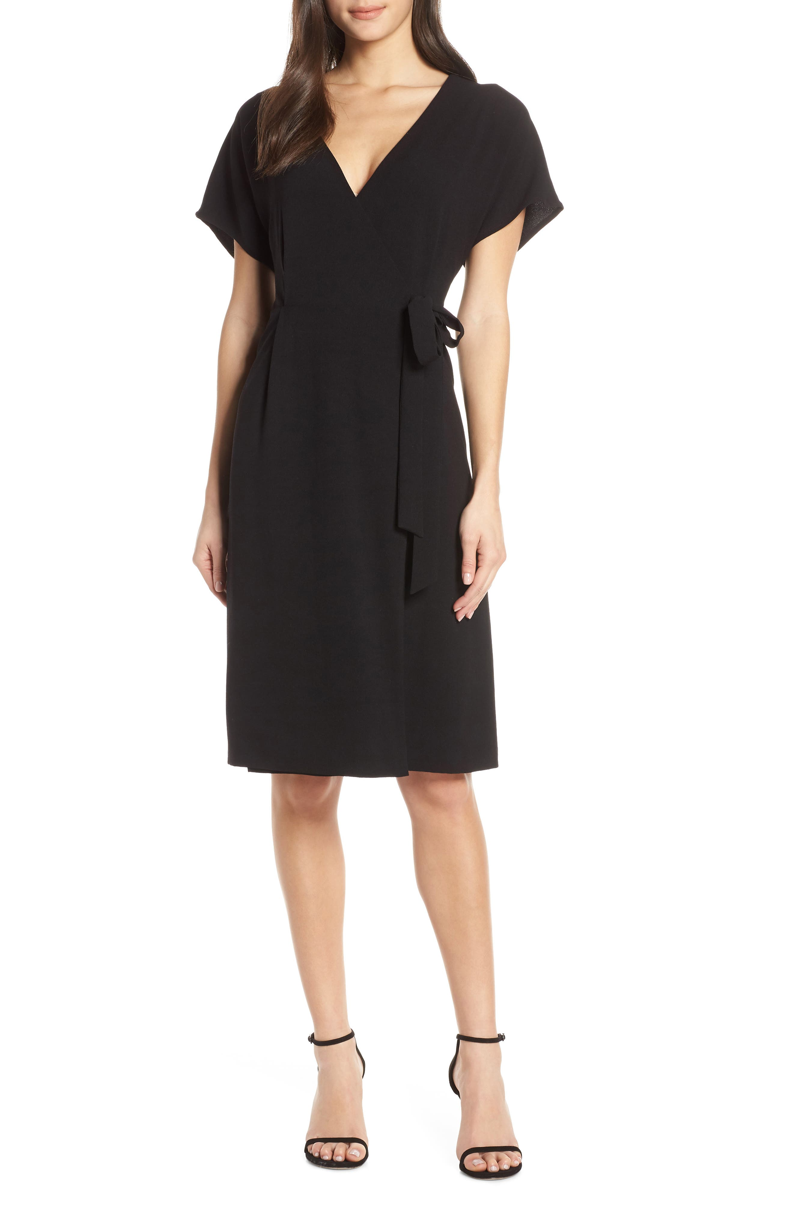 CHARLES HENRY Faux Wrap Dress, Main, color, BLACK