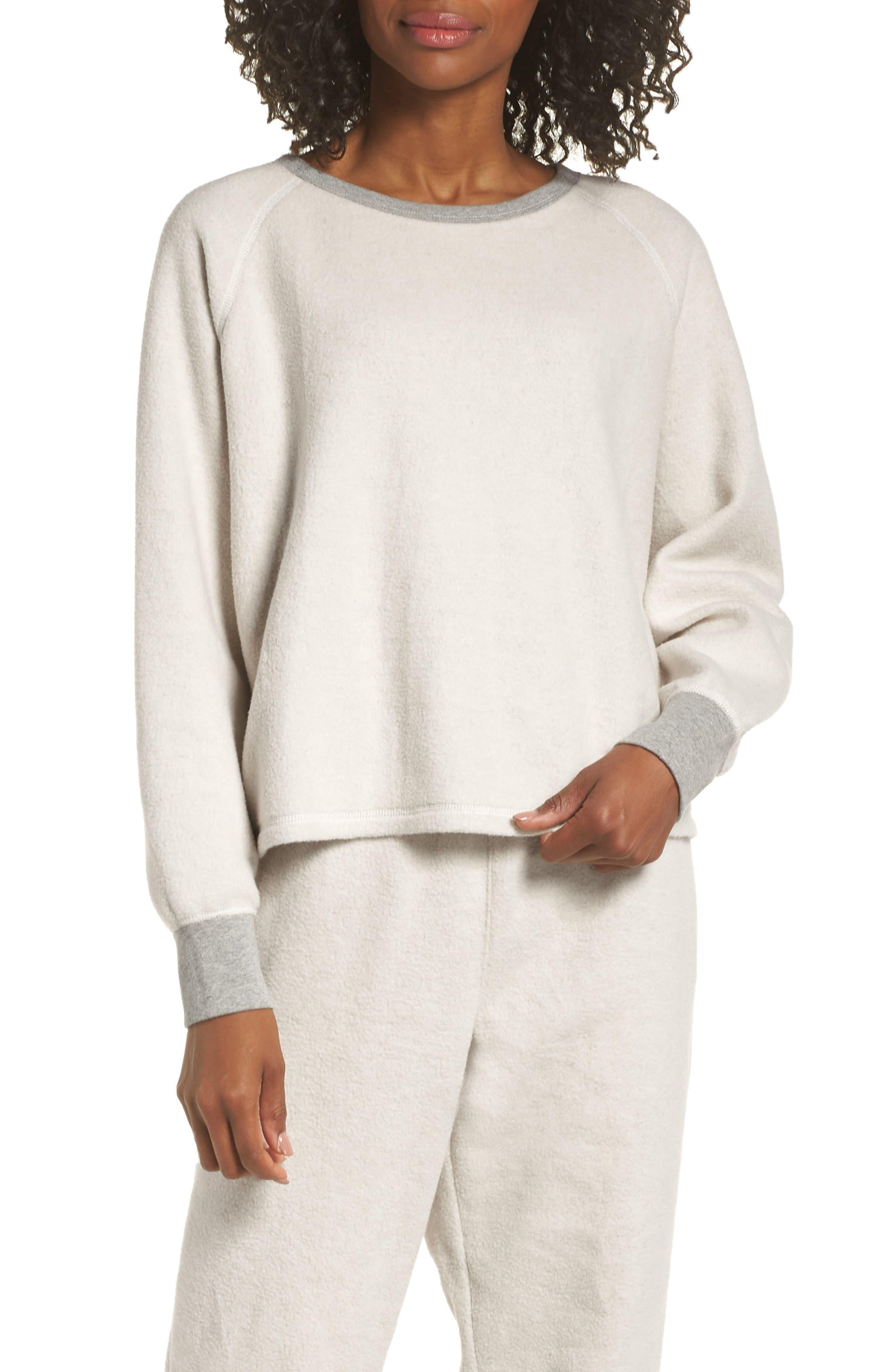 MADEWELL, Fleece Pajama Sweatshirt, Main thumbnail 1, color, 020