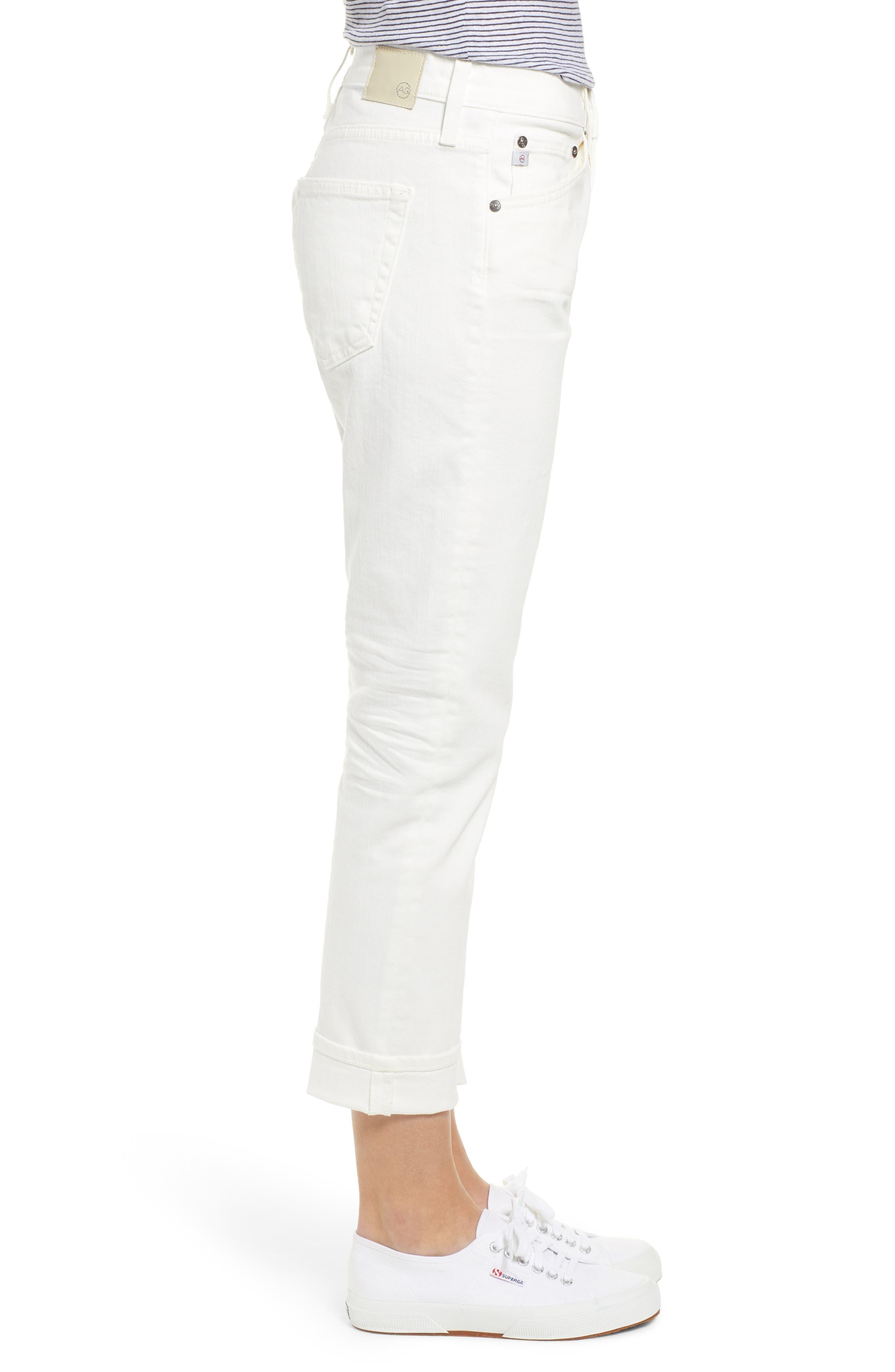 AG, The Ex-Boyfriend Crop Slim Jeans, Alternate thumbnail 4, color, 01Y TONAL WHITE