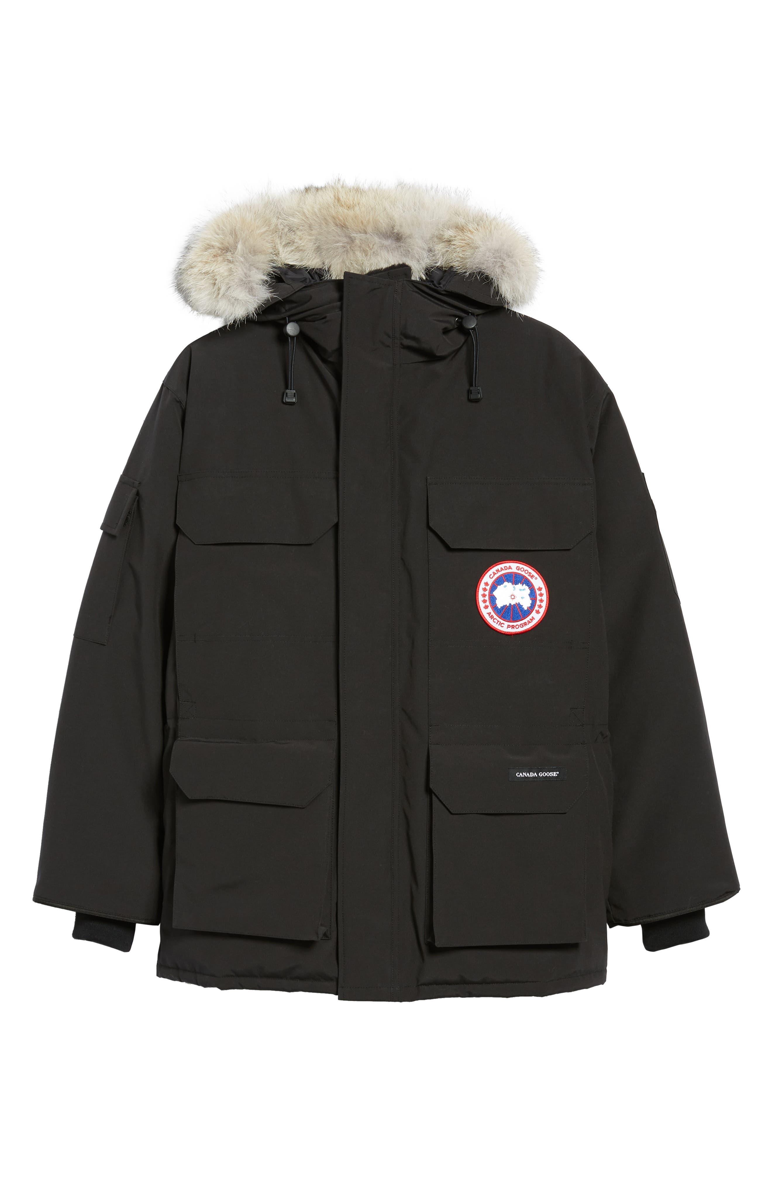 CANADA GOOSE, PBI Expedition Regular Fit Down Parka with Genuine Coyote Fur Trim, Alternate thumbnail 6, color, BLACK