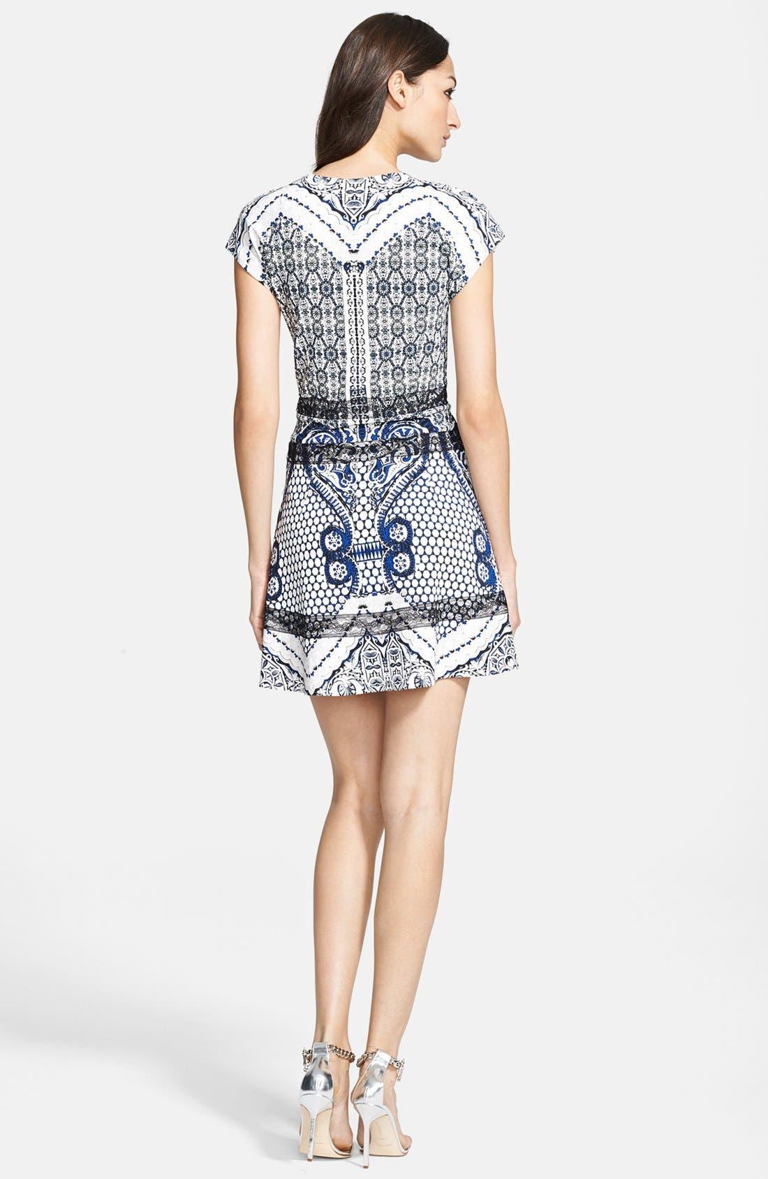 ROBERTO CAVALLI, Print Fit & Flare Dress, Alternate thumbnail 3, color, 400