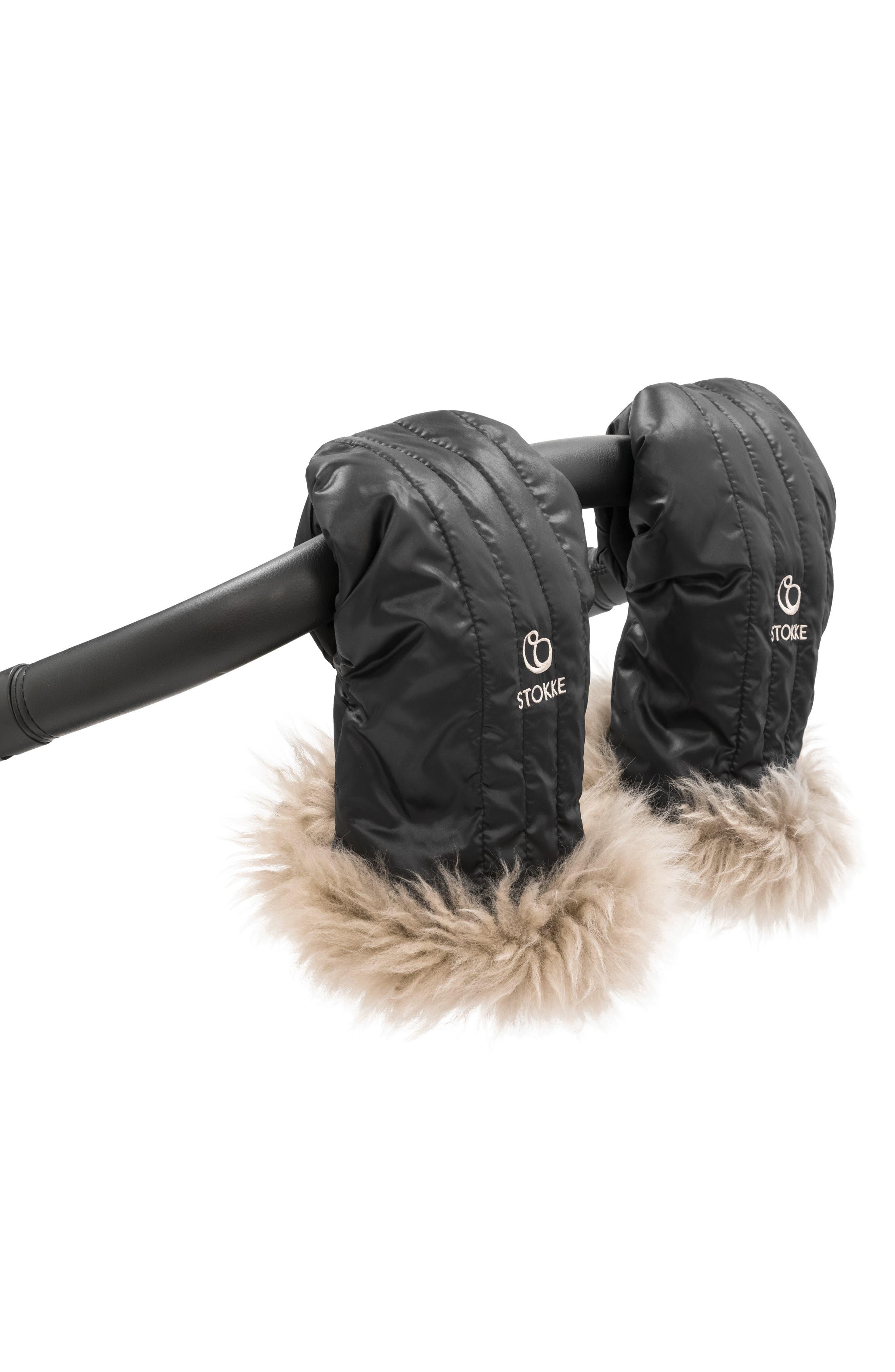 STOKKE, Stroller Genuine Shearling Mittens, Alternate thumbnail 3, color, ONYX BLACK