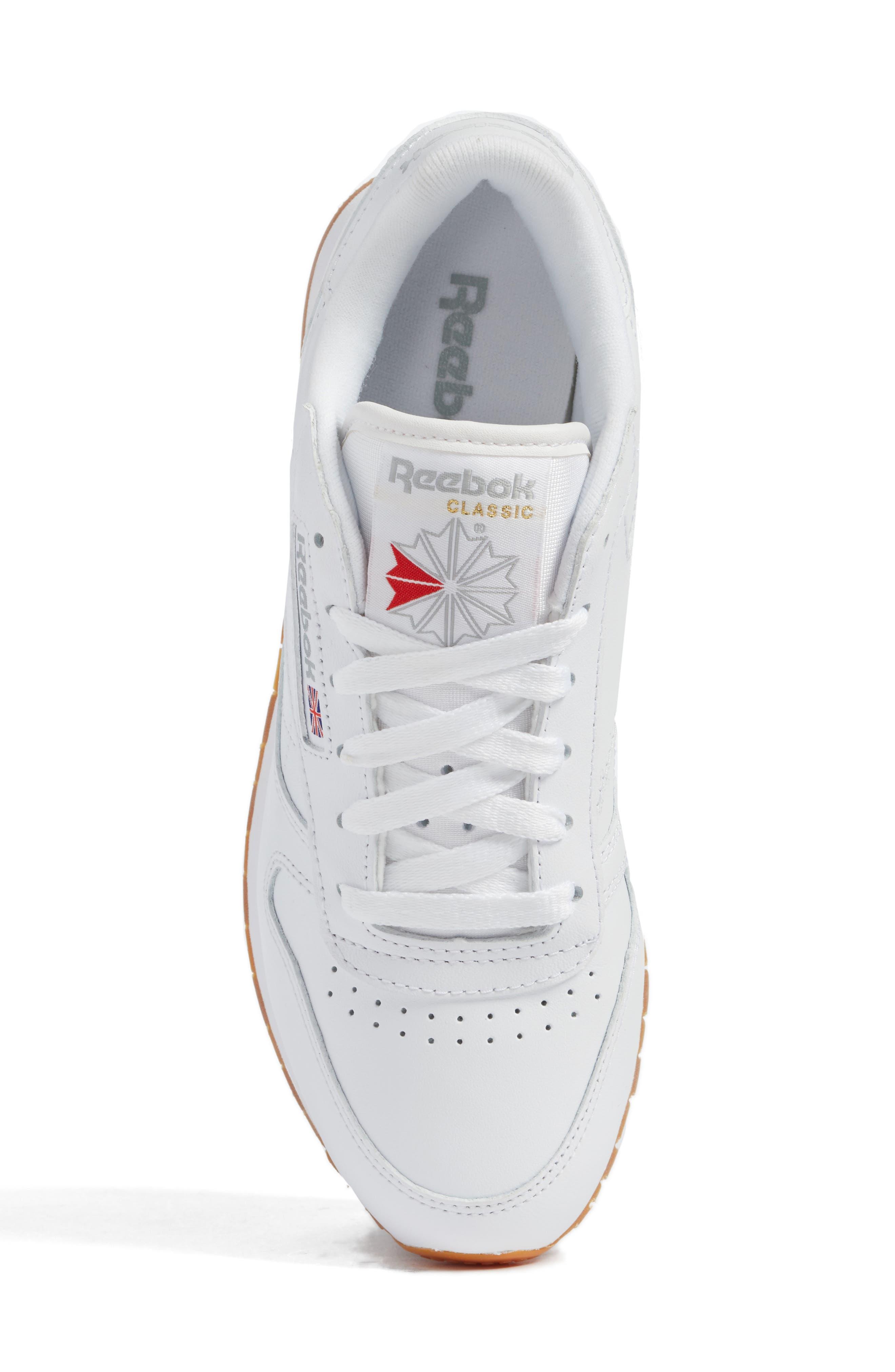 REEBOK, Classic Leather Sneaker, Alternate thumbnail 5, color, US-WHITE/ GUM