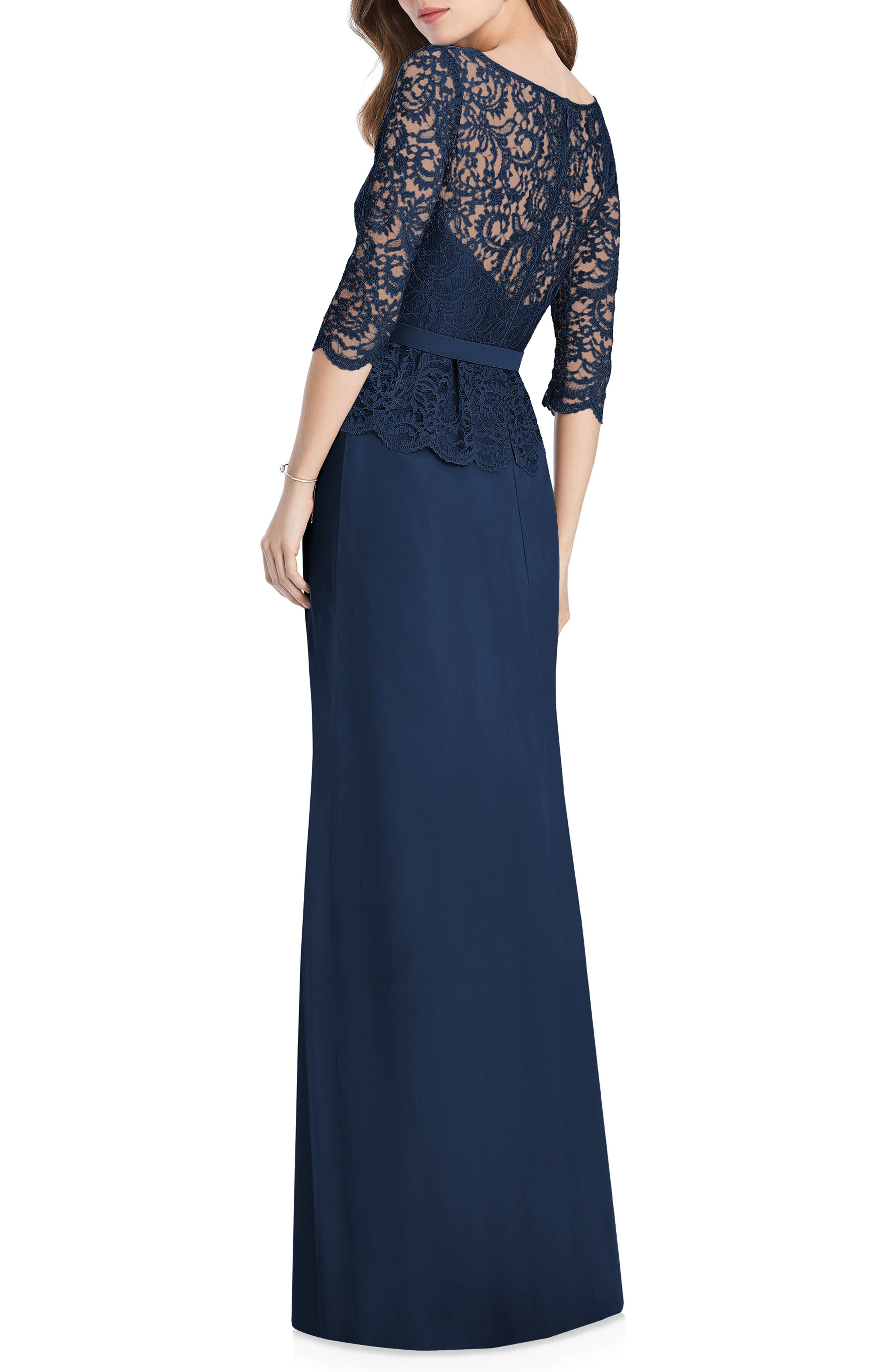 JENNY PACKHAM, Lux Chiffon Gown, Alternate thumbnail 2, color, MIDNIGHT