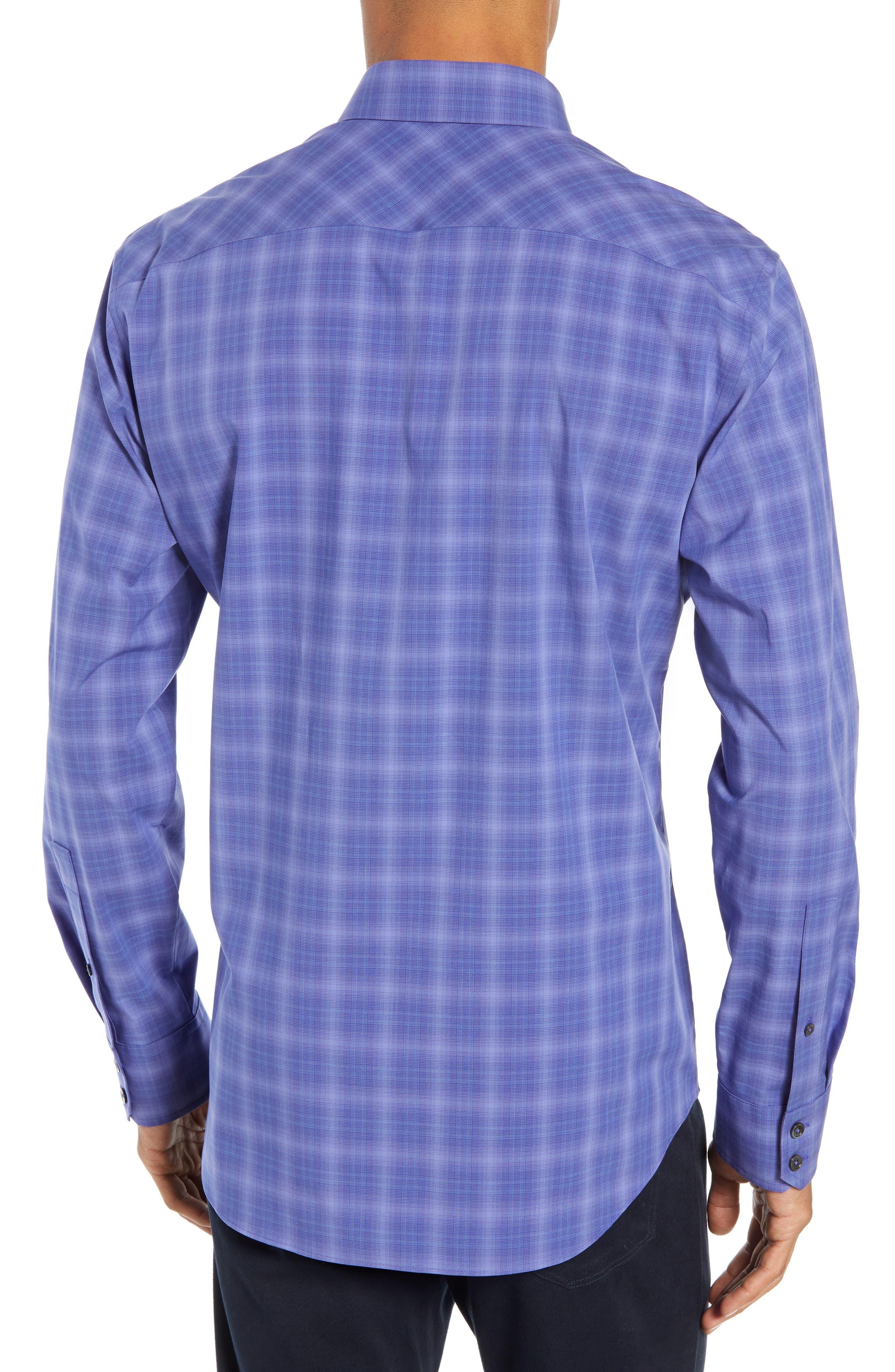 ZACHARY PRELL, Wandy Regular Fit Check Sport Shirt, Alternate thumbnail 3, color, LIGHT PURPLE