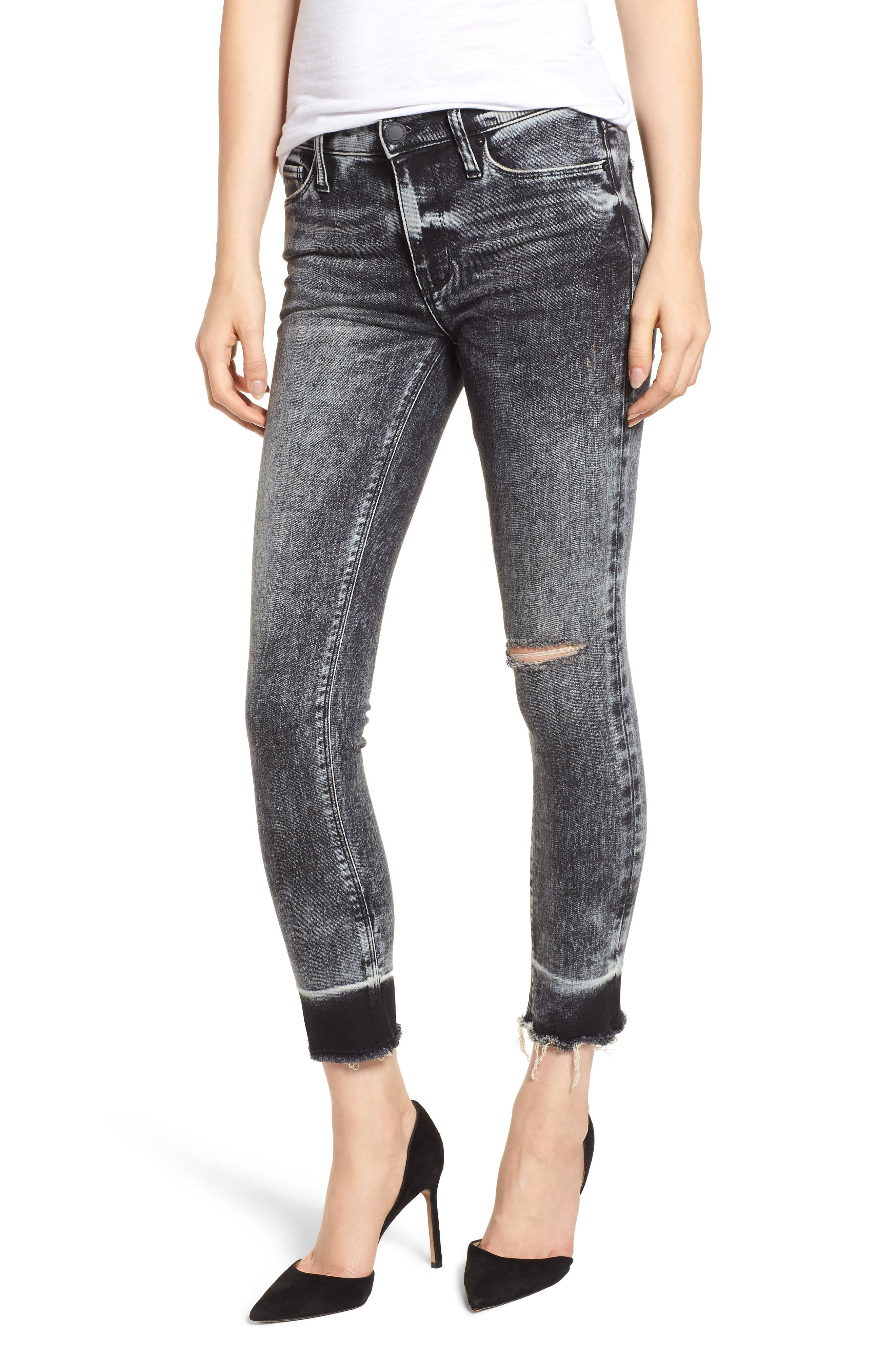 HUDSON JEANS, Nico Raw Hem Crop Super Skinny Jeans, Main thumbnail 1, color, PEPPER