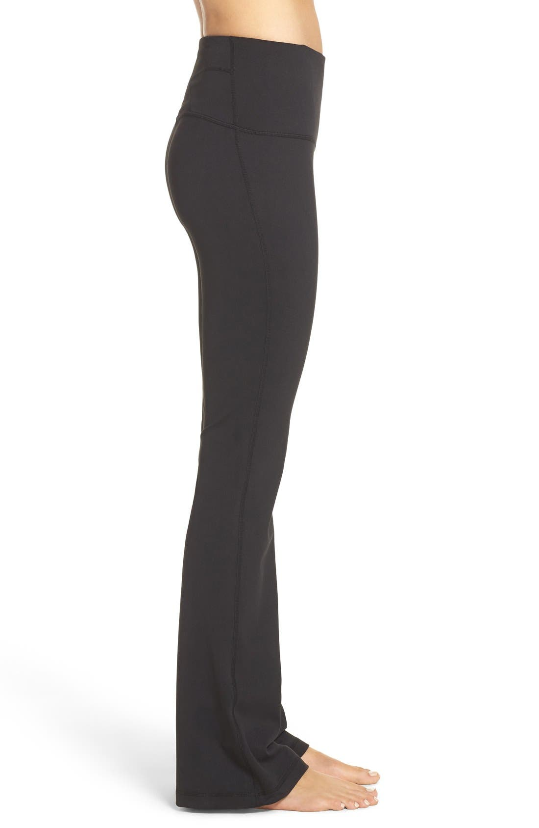 ZELLA, Barely Flare Live in High Waist Pants, Alternate thumbnail 4, color, BLACK