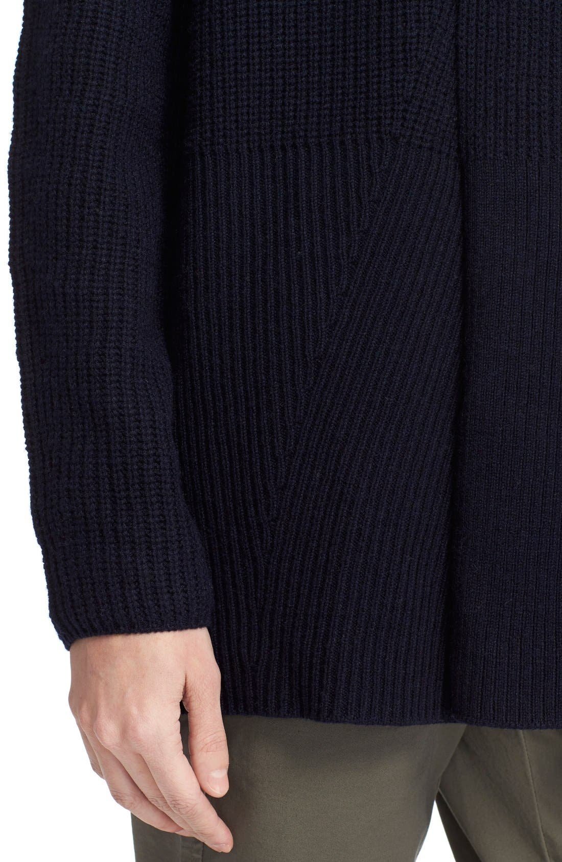 VINCE, Directional Rib Wool & Cashmere Cardigan, Alternate thumbnail 4, color, 403