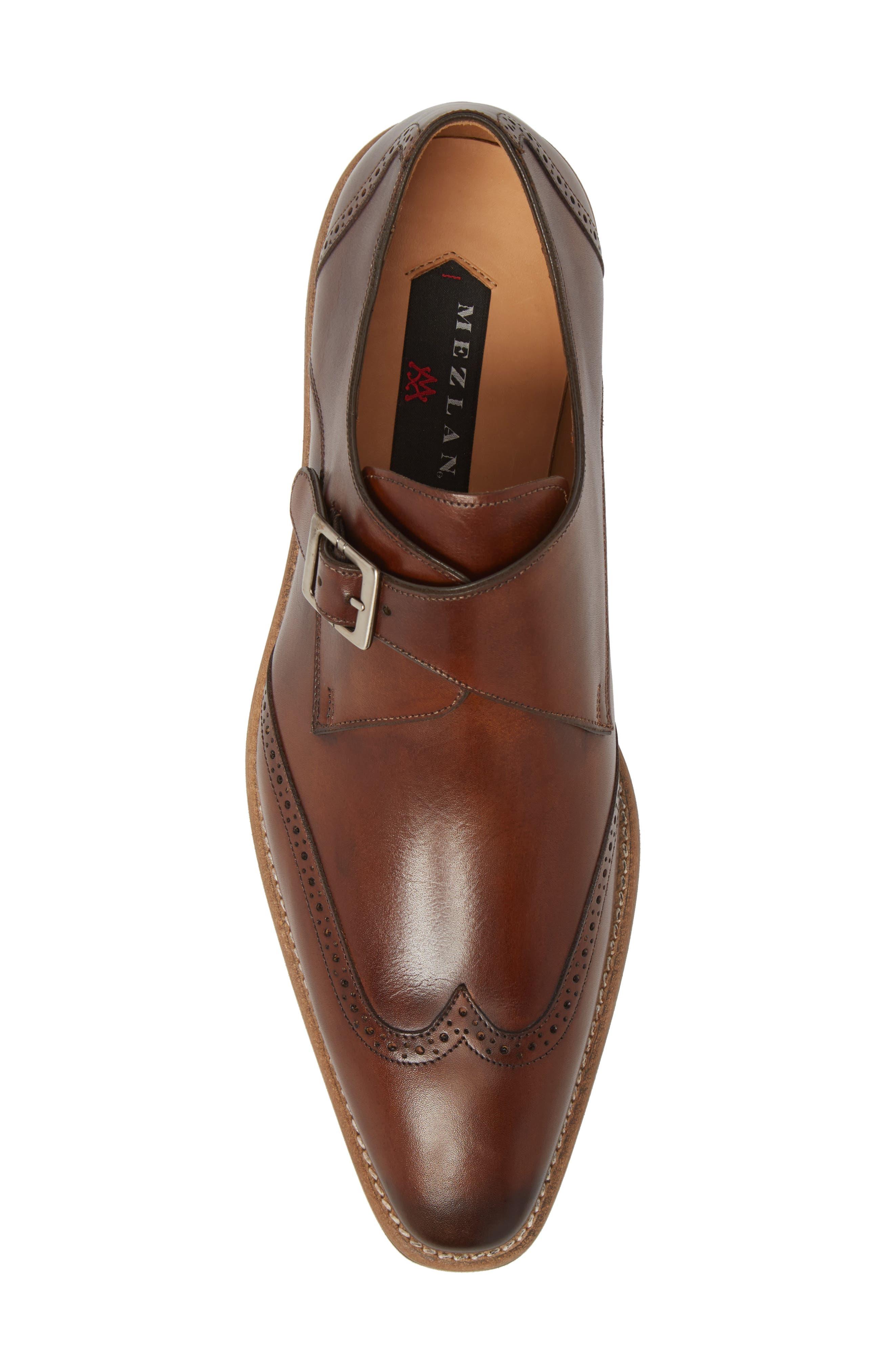 MEZLAN, Feresta Wingtip Monk Shoe, Alternate thumbnail 5, color, COGNAC