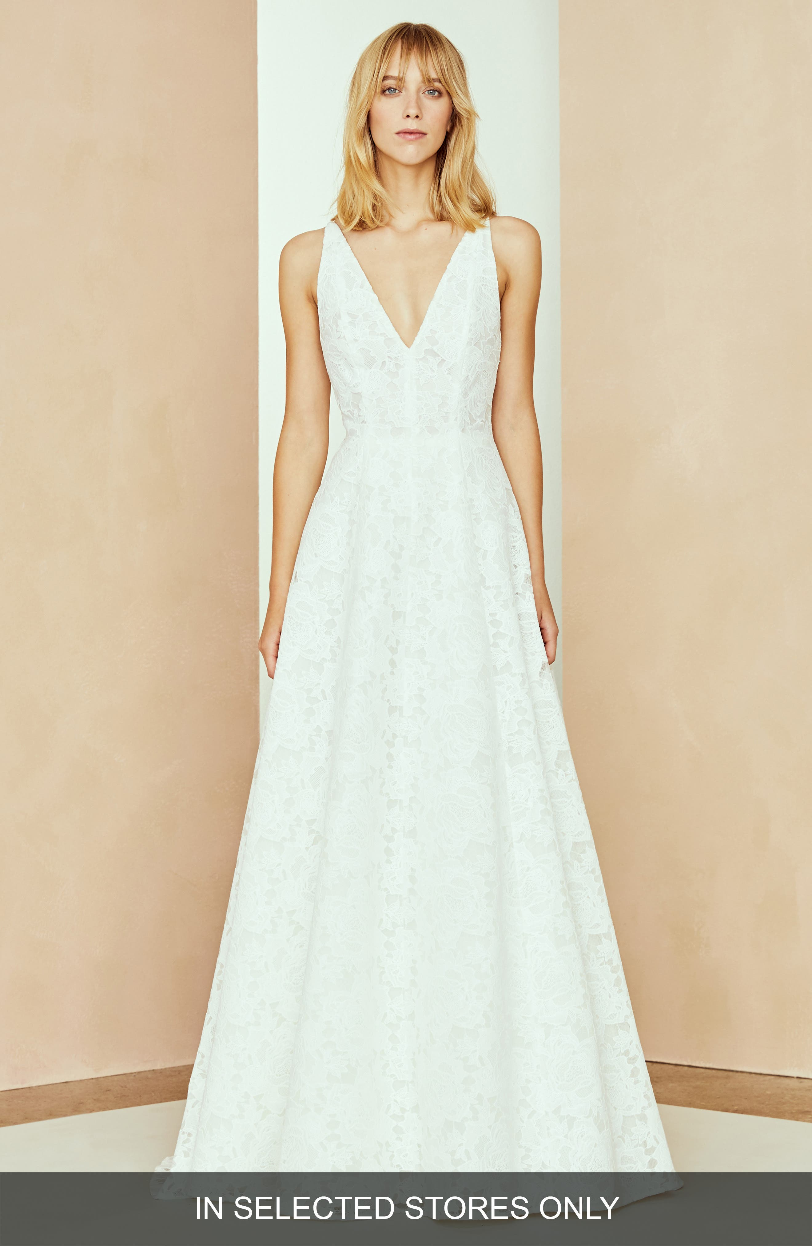 Nouvelle Amsale Channing Lace A-Line Gown, Size - Ivory