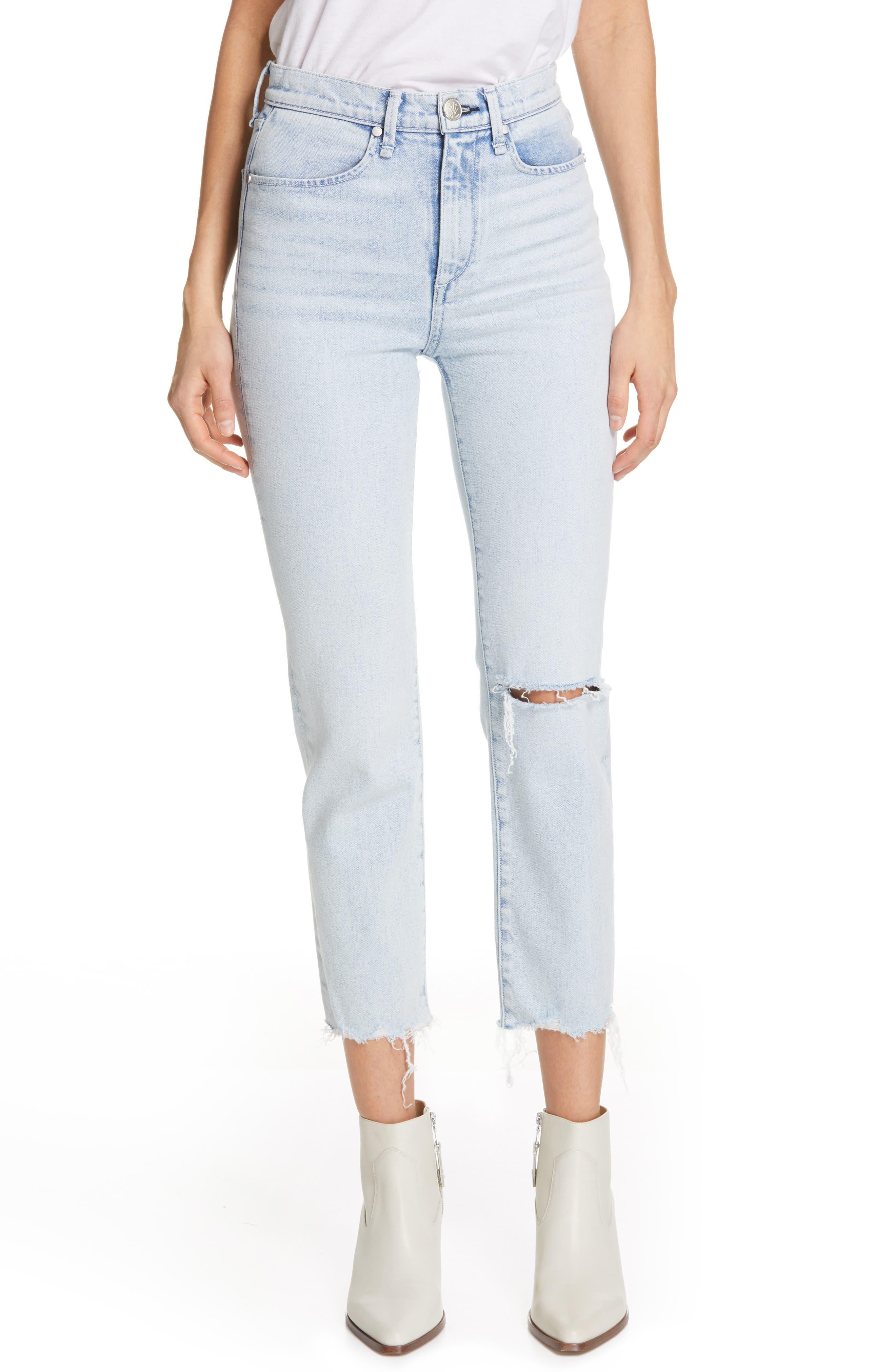 RAG & BONE JEAN High Waist Ripped Ankle Cigarette Jeans, Main, color, 450