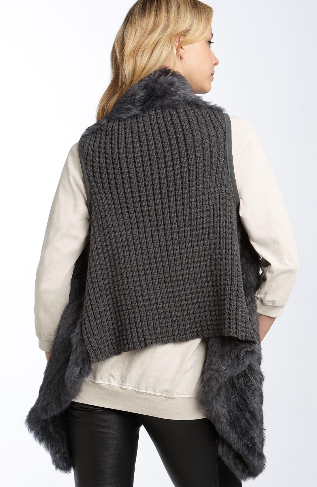 LAROK, Genuine Rabbit Fur Vest, Alternate thumbnail 2, color, 020