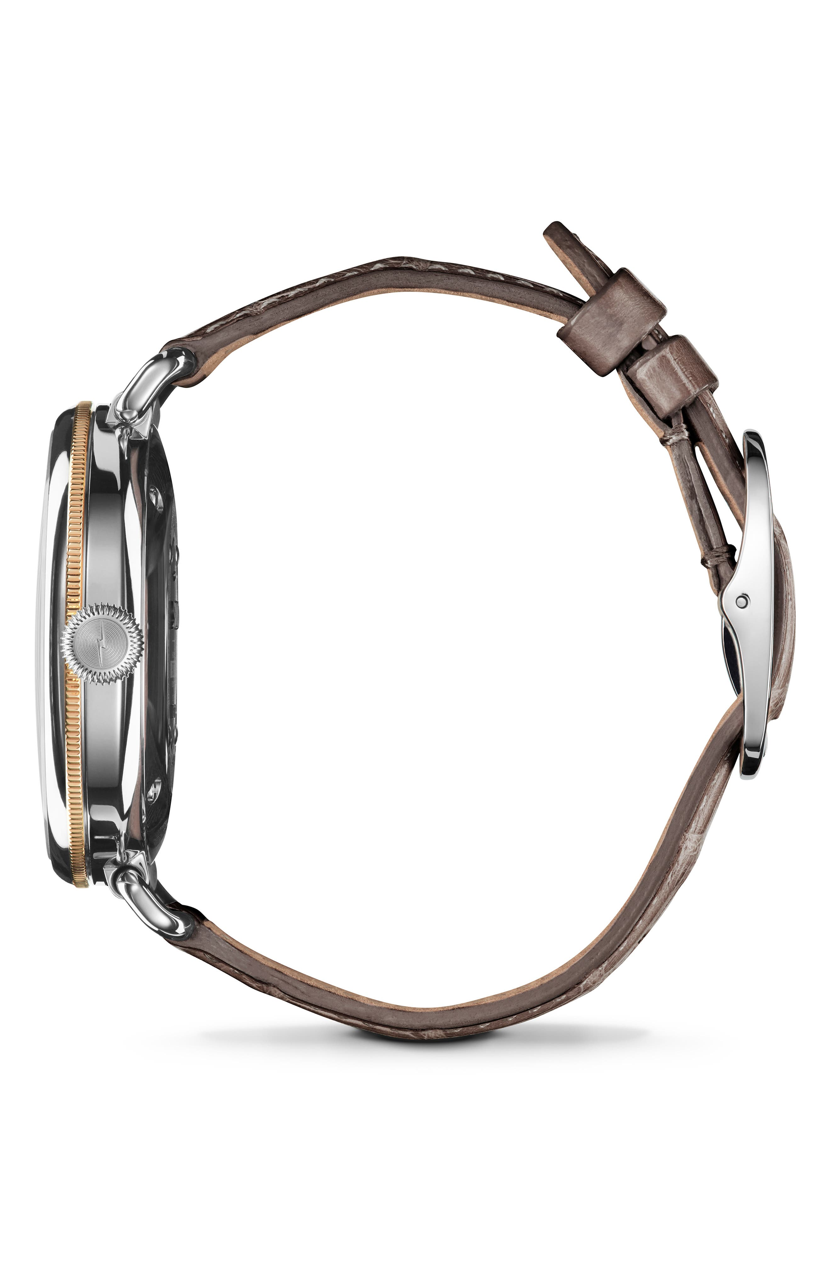 SHINOLA, The Canfield Alligator Strap Watch, 38mm, Alternate thumbnail 3, color, GREY/ TAUPE SUNRAY/ SILVER
