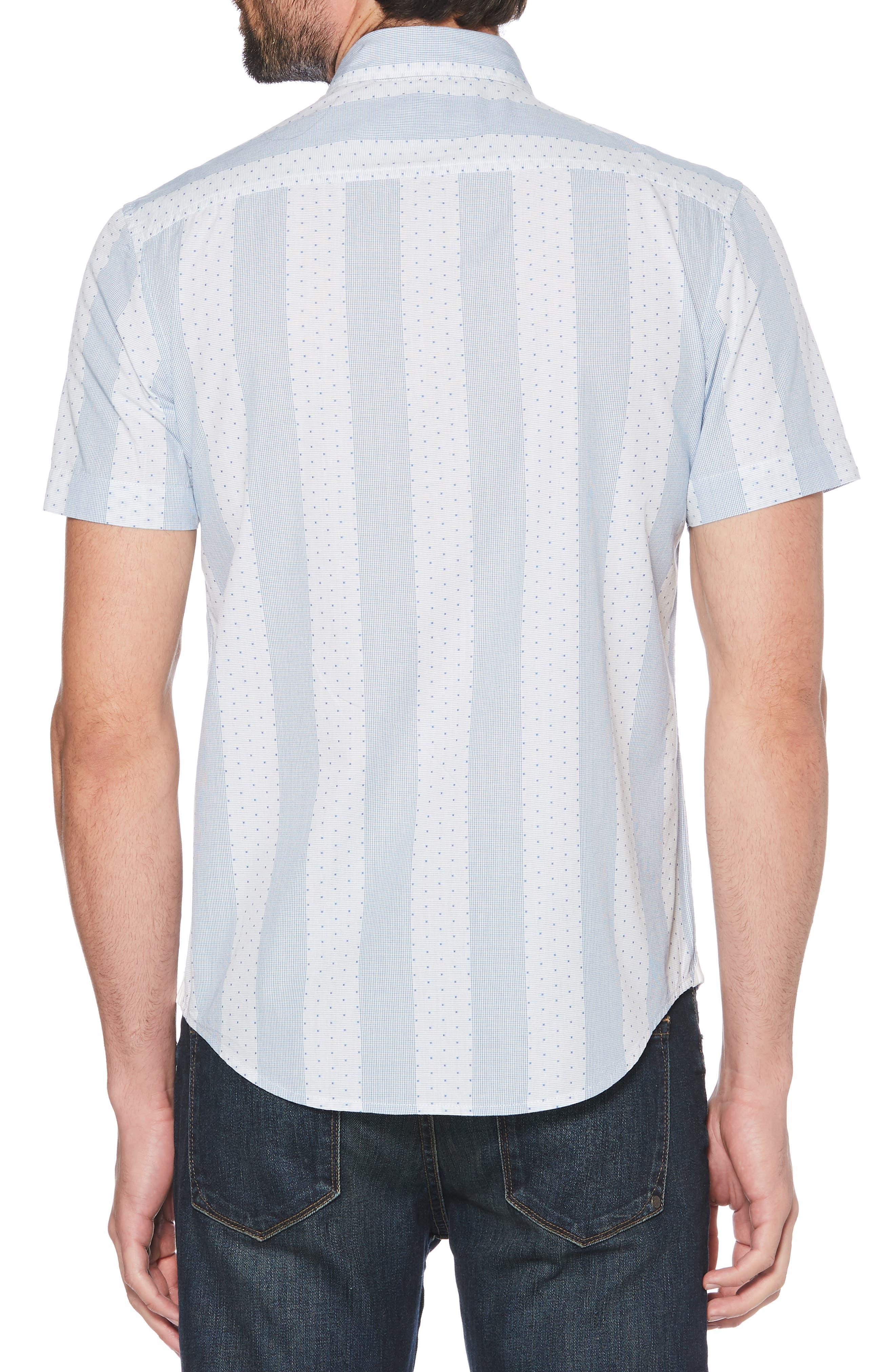 ORIGINAL PENGUIN, Square Dobby Stripe Shirt, Alternate thumbnail 3, color, BRIGHT WHITE