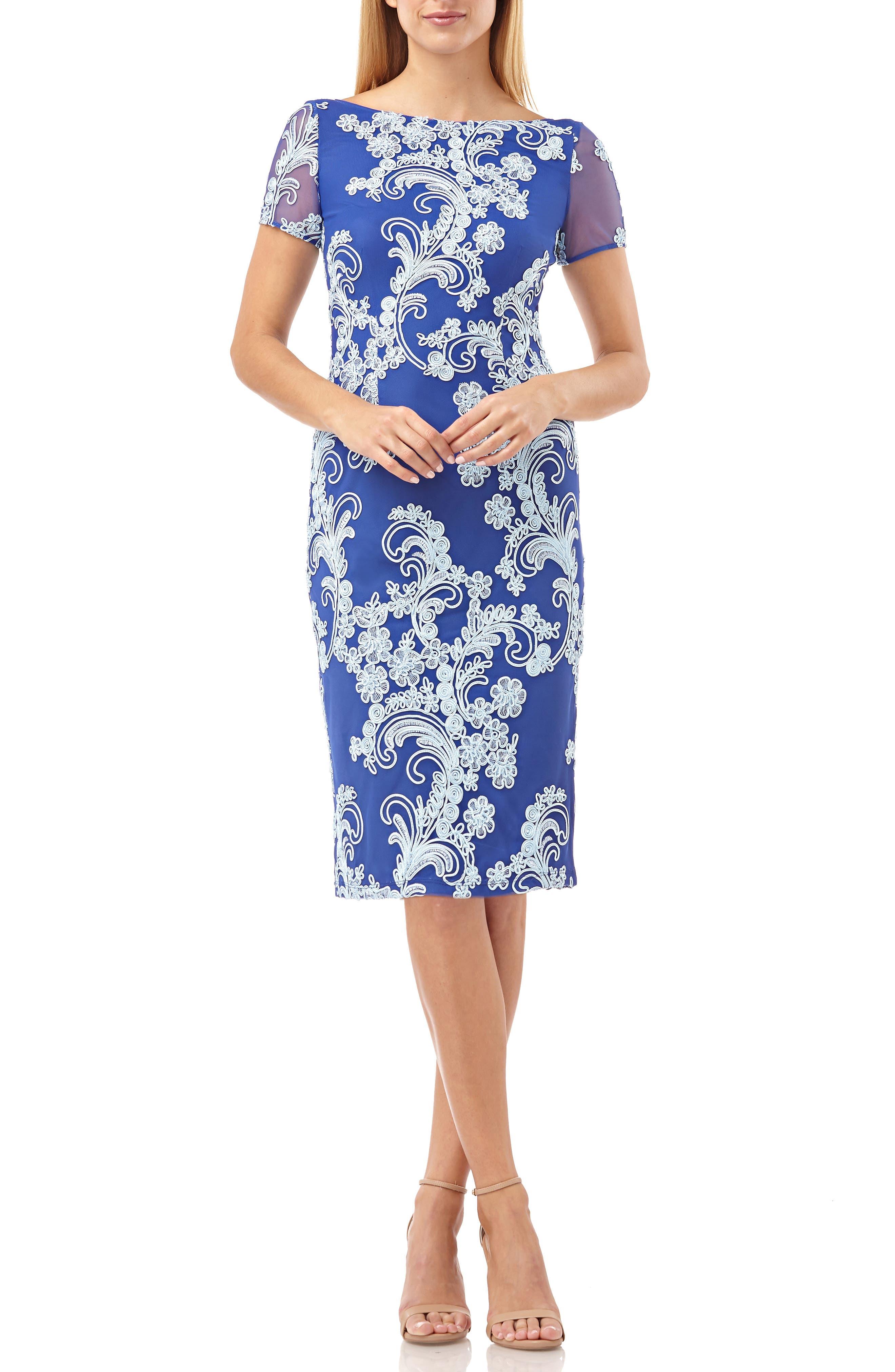 Js Collections Soutache Cocktail Sheath Dress, Blue