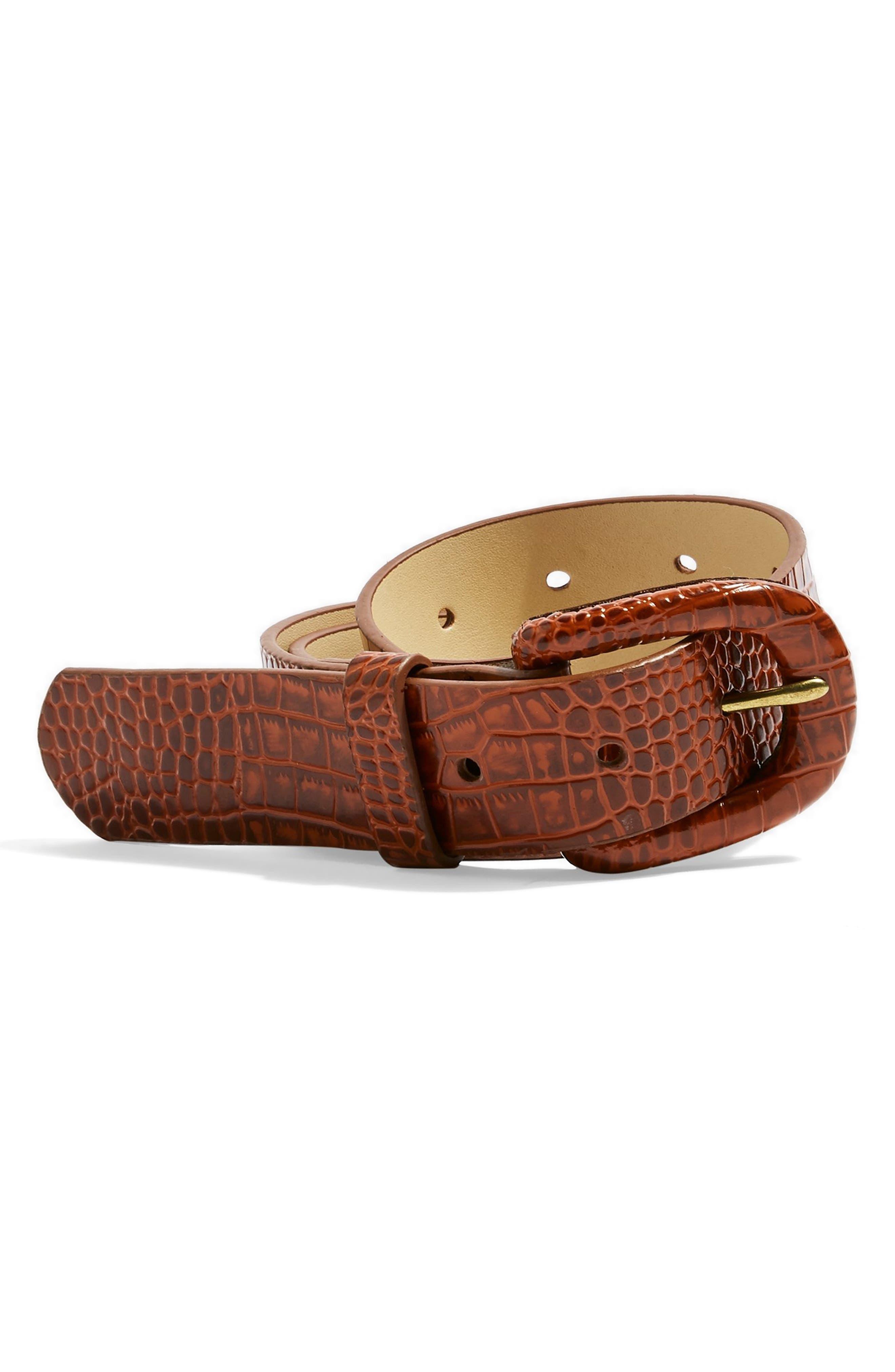 TOPSHOP Crocodile Embossed Belt, Main, color, BROWN