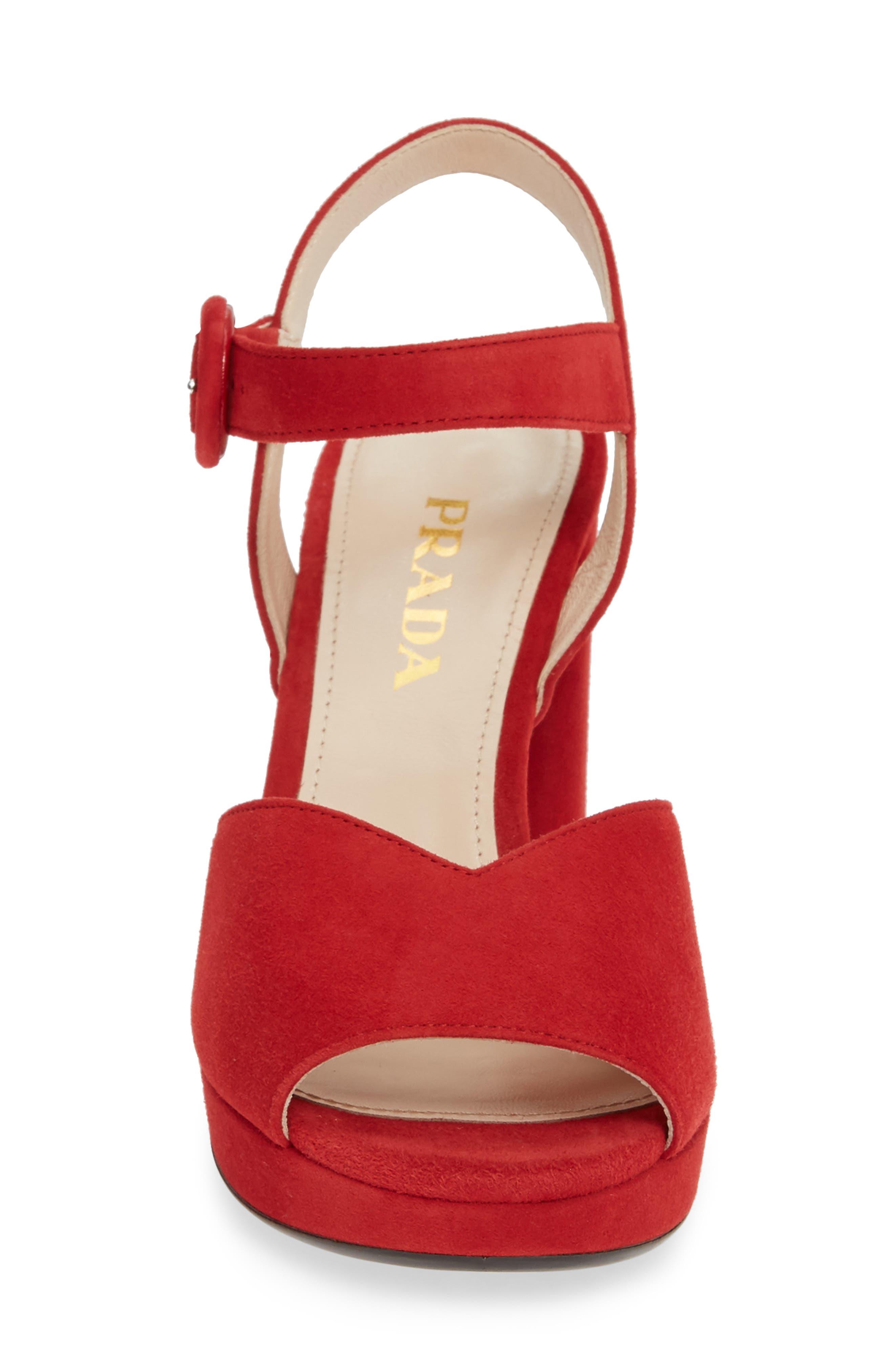 PRADA, Platform Sandal, Alternate thumbnail 4, color, RED SUEDE