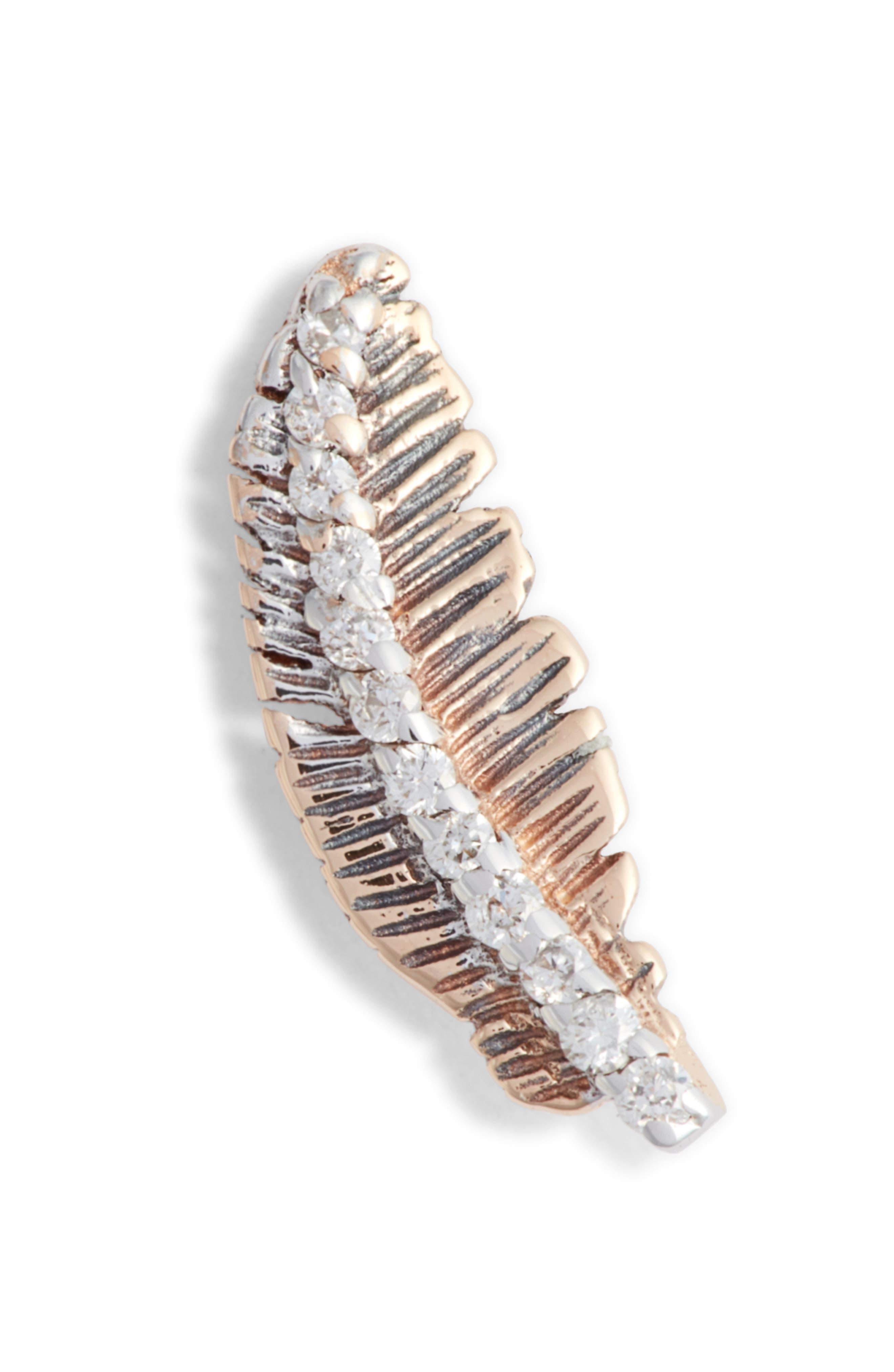 KISMET BY MILKA, Diamond Feather Single Earring, Main thumbnail 1, color, ROSE GOLD/ DIAMOND