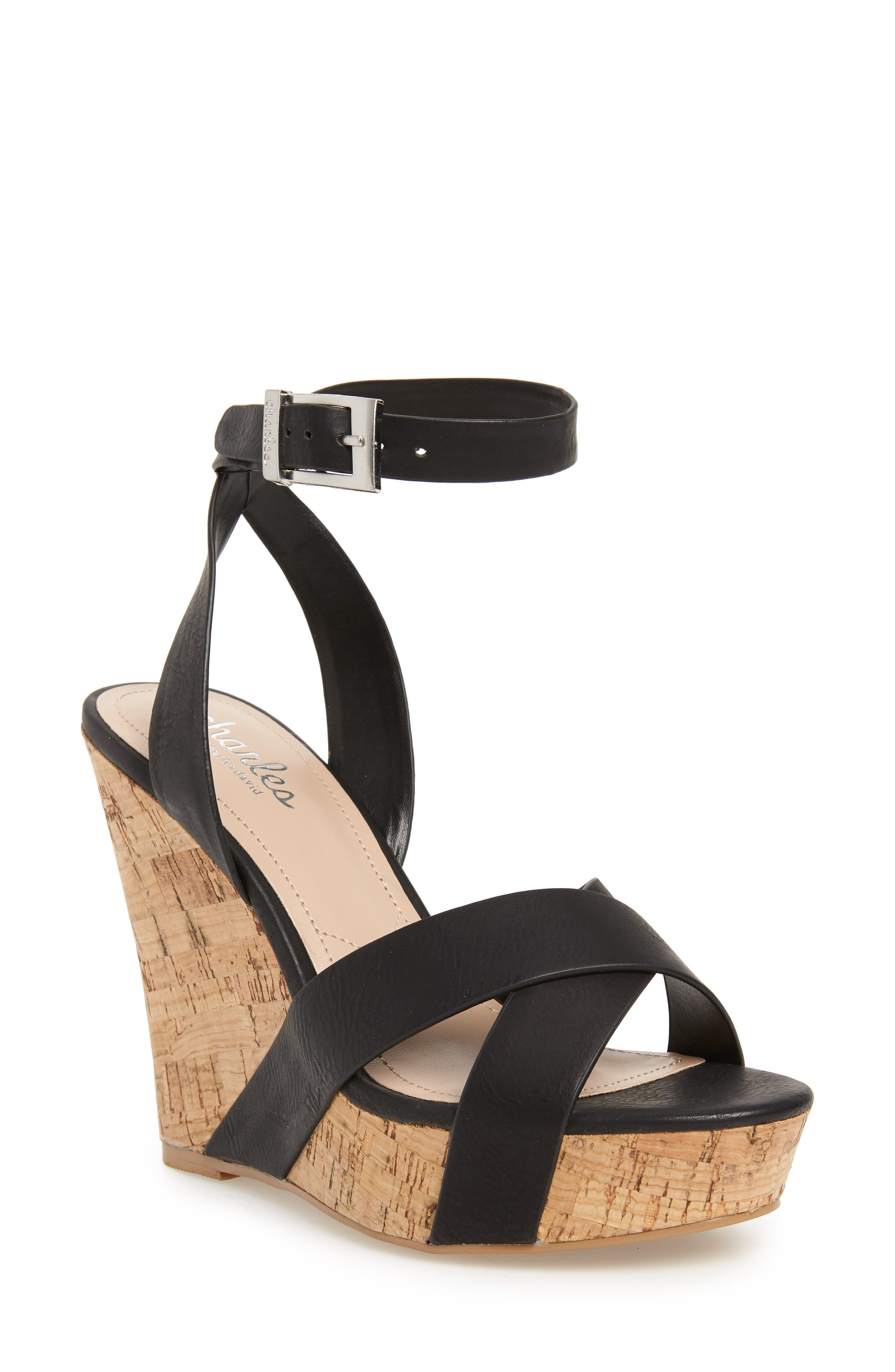 CHARLES BY CHARLES DAVID, Aleck Platform Wedge Sandal, Main thumbnail 1, color, BLACK FAUX LEATHER