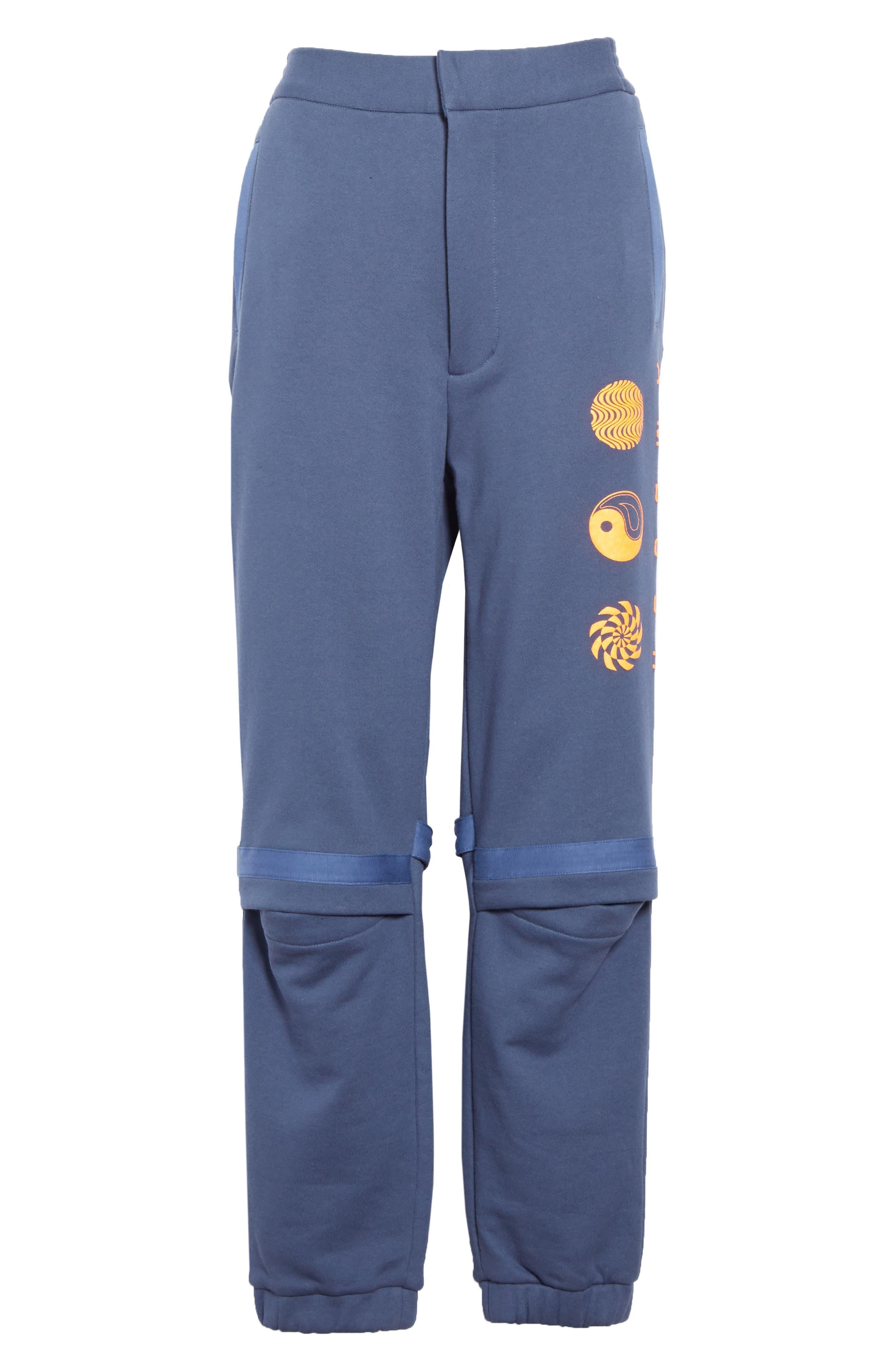 AMBUSH, Slit Knee Sweatpants, Alternate thumbnail 6, color, BLUE