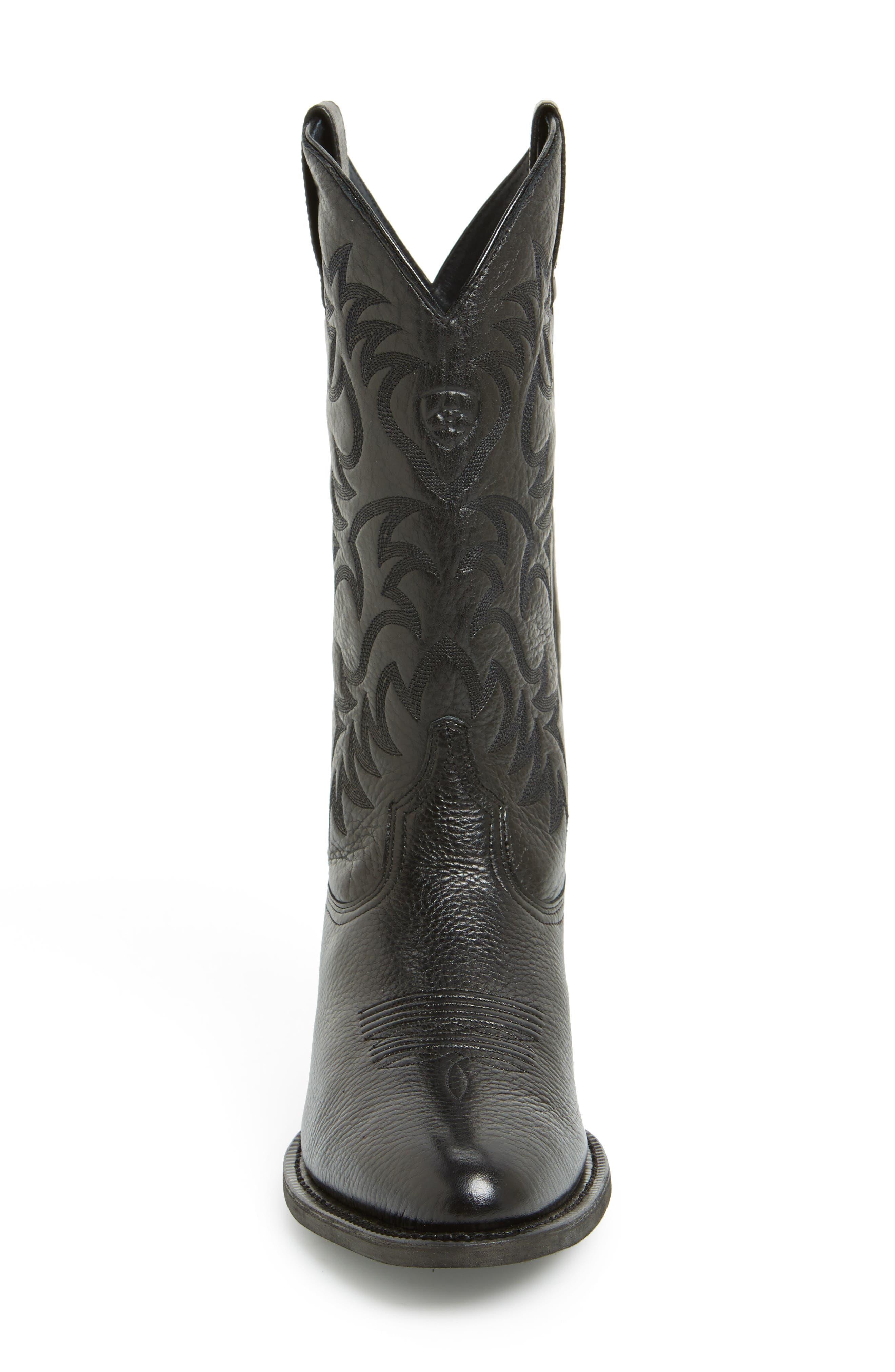 ARIAT, 'Heritage' Leather Cowboy R-Toe Boot, Alternate thumbnail 5, color, BLACK DEERTAN