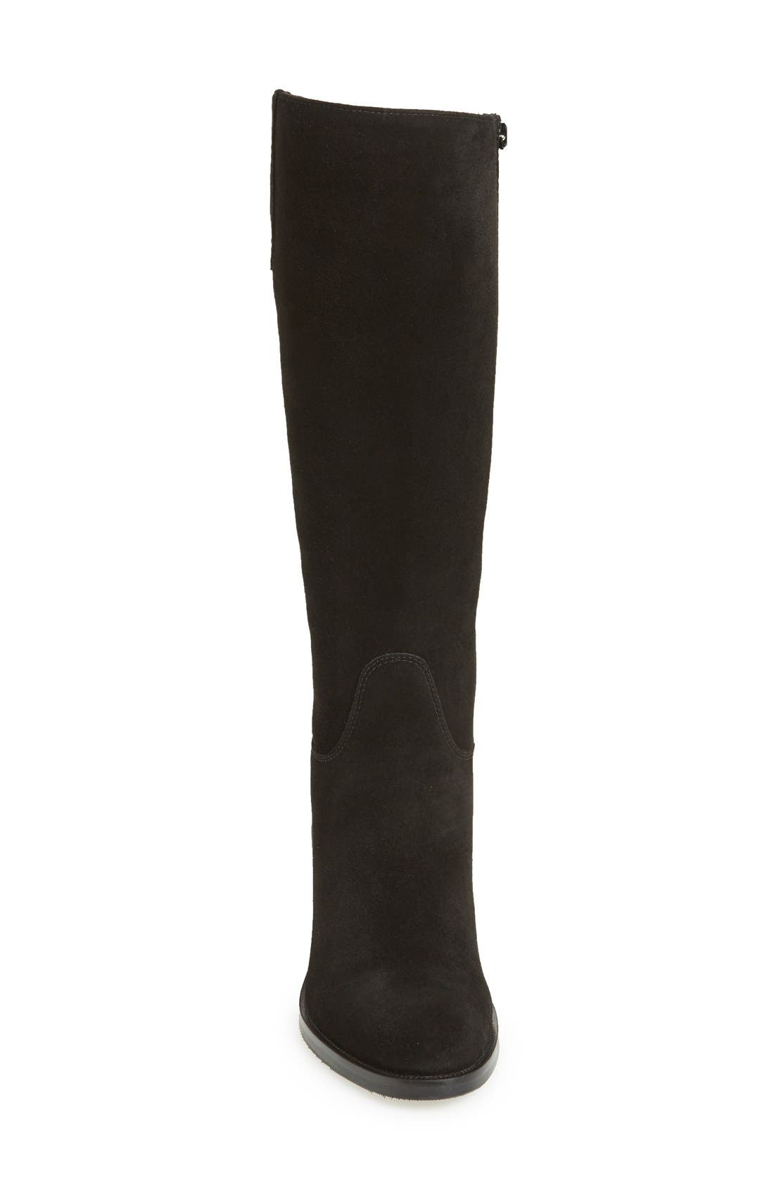 LA CANADIENNE, 'Polly' Waterproof Knee High Boot, Alternate thumbnail 3, color, BLACK SUEDE