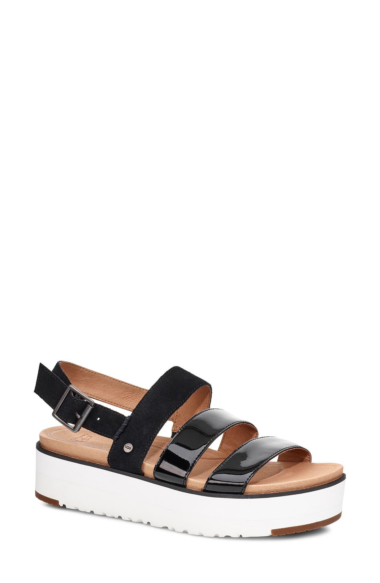 UGG<SUP>®</SUP>, Braelynn Flatform Sandal, Main thumbnail 1, color, BLACK LEATHER