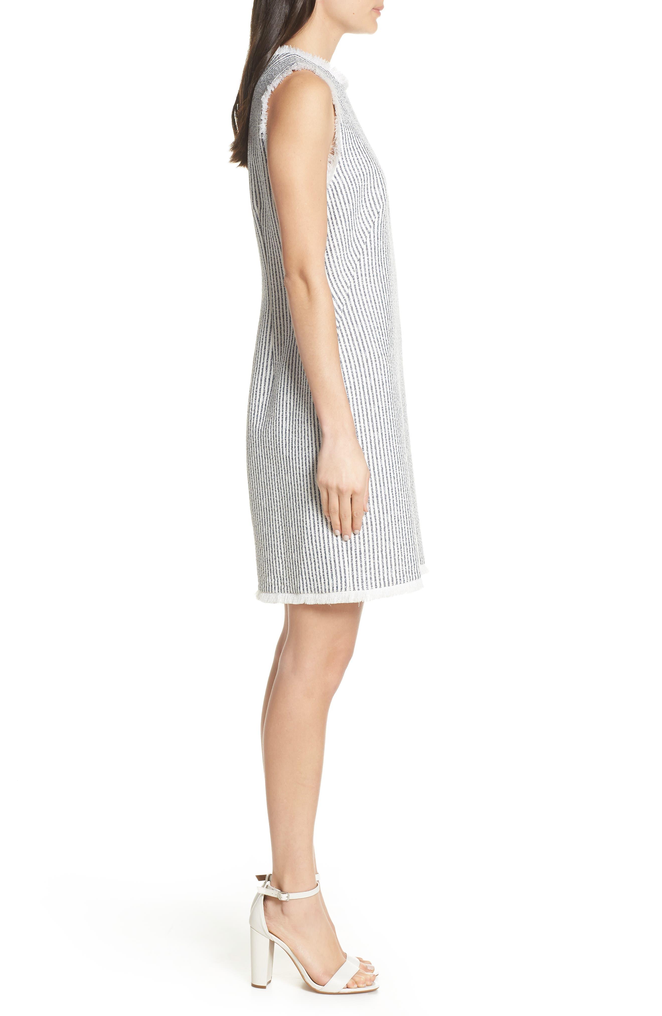 CHARLES HENRY, Fringe Trim Stripe Shift Dress, Alternate thumbnail 4, color, NAVY WHITE STRIPE