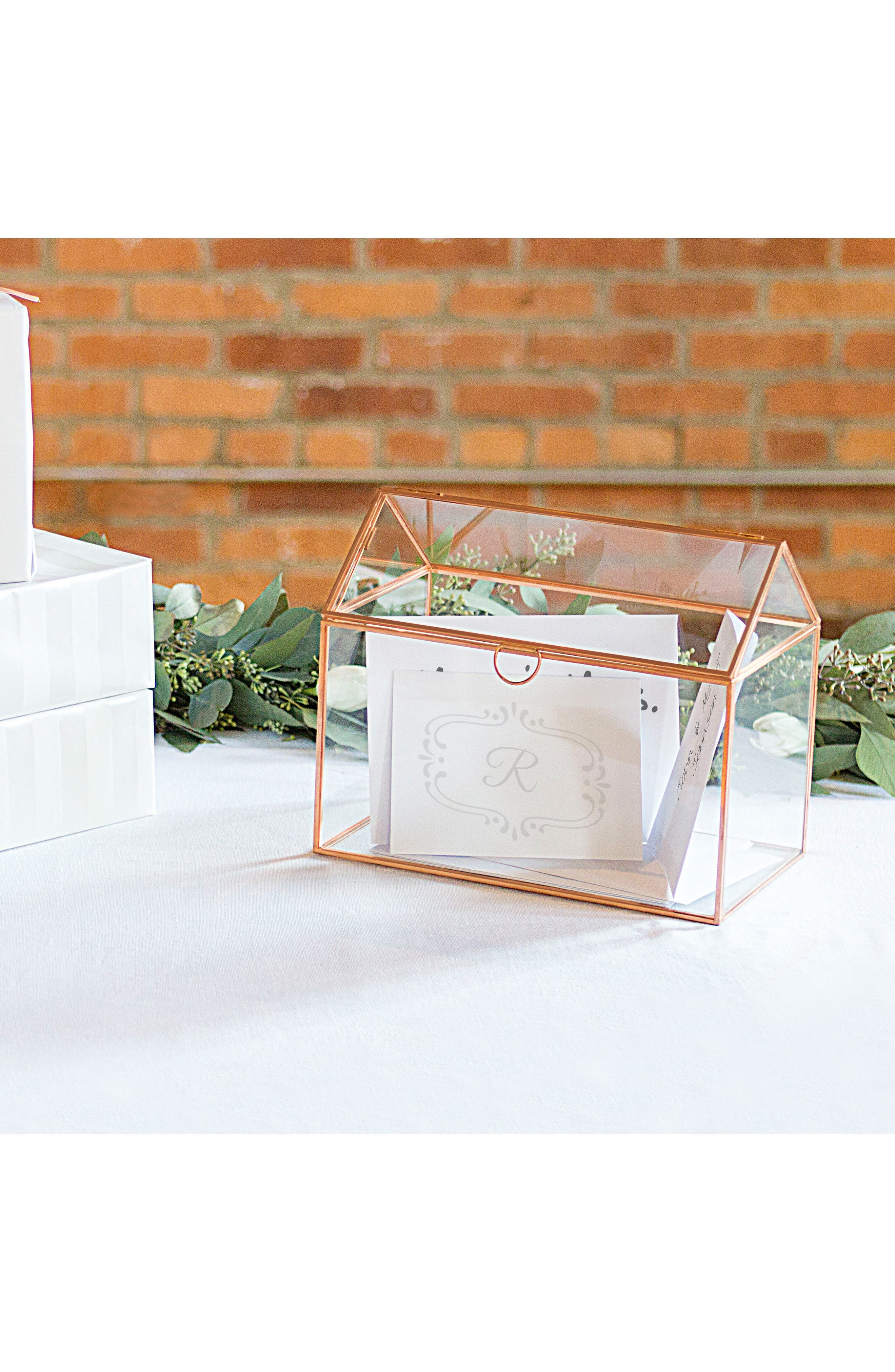 CATHY'S CONCEPTS, Monogram Rose Gold Reception Card Holder, Alternate thumbnail 8, color, ROSE GOLD