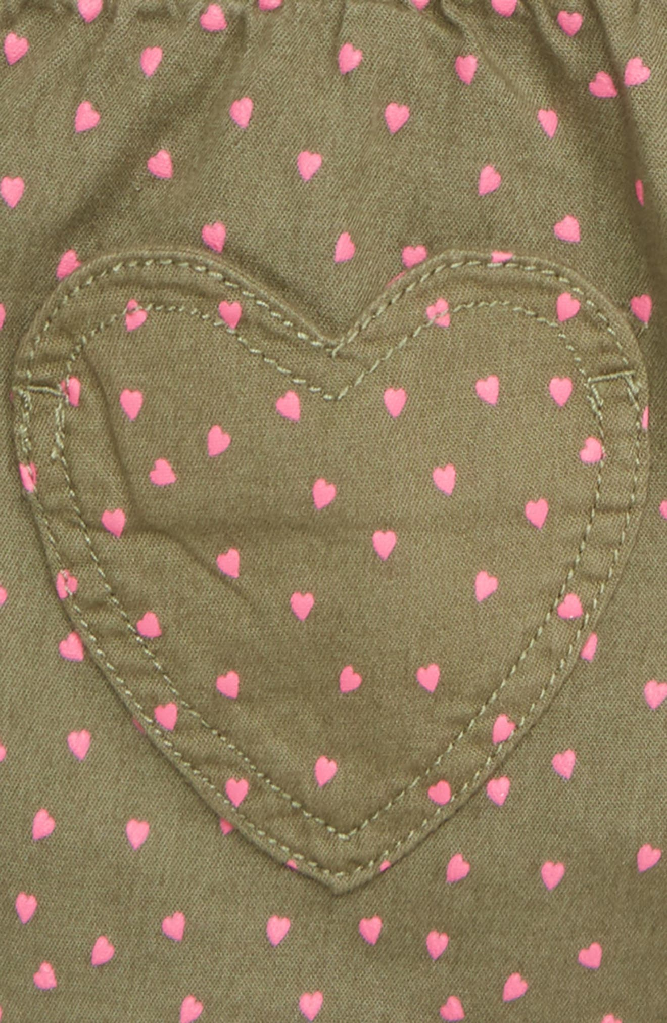 MINI BODEN, Heart Pocket Shorts, Alternate thumbnail 3, color, GRN ARMY GREEN SWEET HEARTS