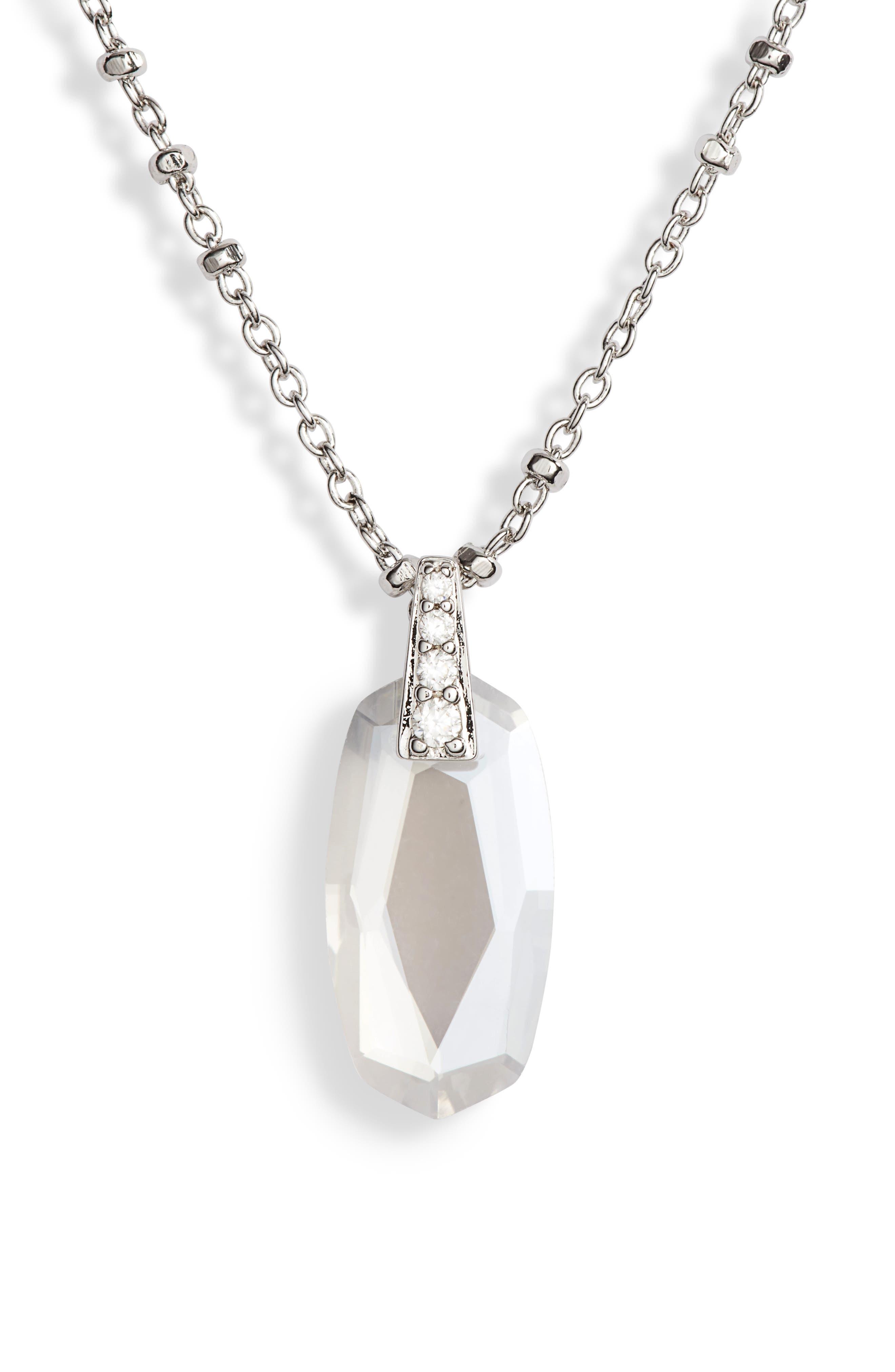 KENDRA SCOTT, Camila Pendant Necklace, Main thumbnail 1, color, LUSTRE GLASSS/ SILVER