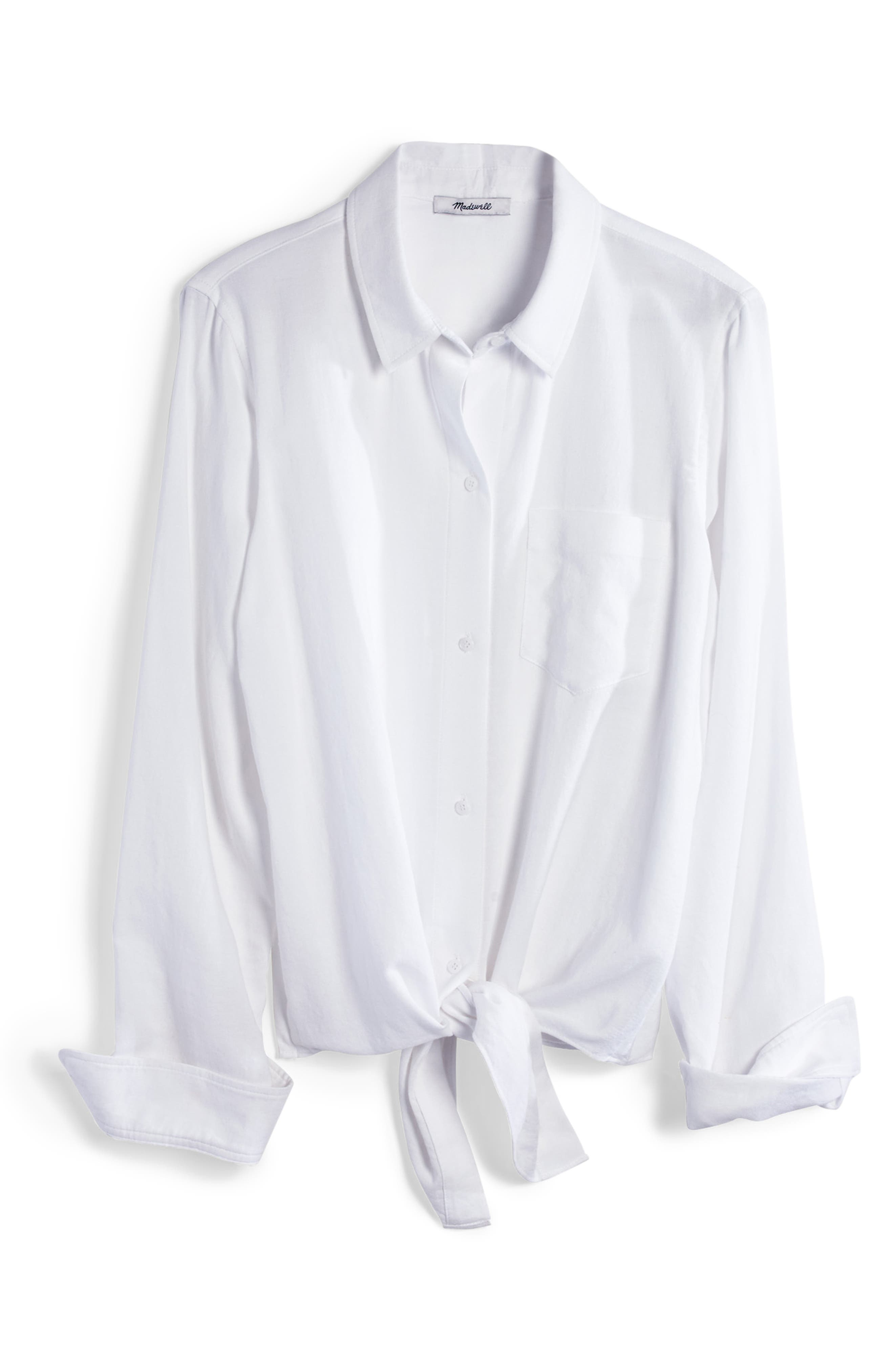 MADEWELL, Tie Front Shirt, Alternate thumbnail 4, color, EYELET WHITE