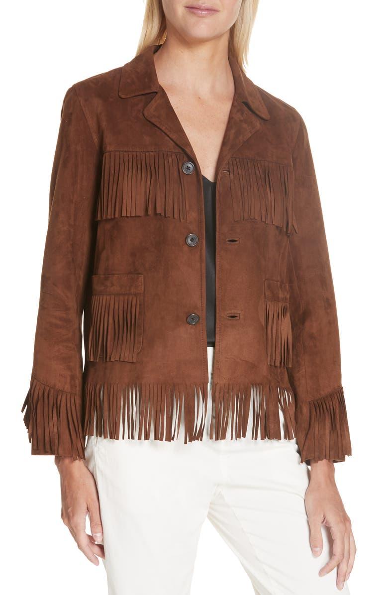 NILI LOTAN Frida Suede Fringe Jacket, Main, color, DARK COGNAC