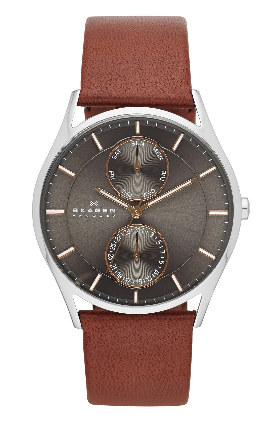 SKAGEN, 'Holst' Multifunction Leather Strap Watch, 40mm, Main thumbnail 1, color, SADDLE/ CHARCOAL