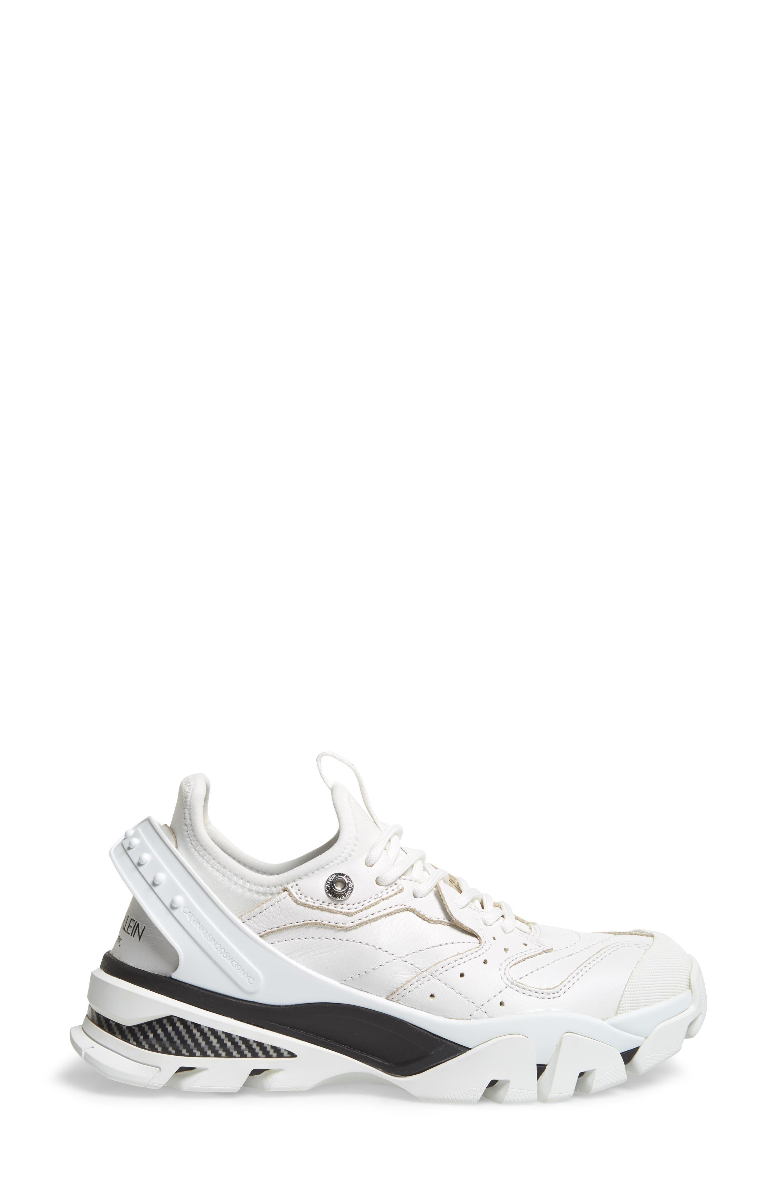 CALVIN KLEIN, 205W39NYC Carla Sneaker, Alternate thumbnail 3, color, WHITE/ BLACK/ BLACK