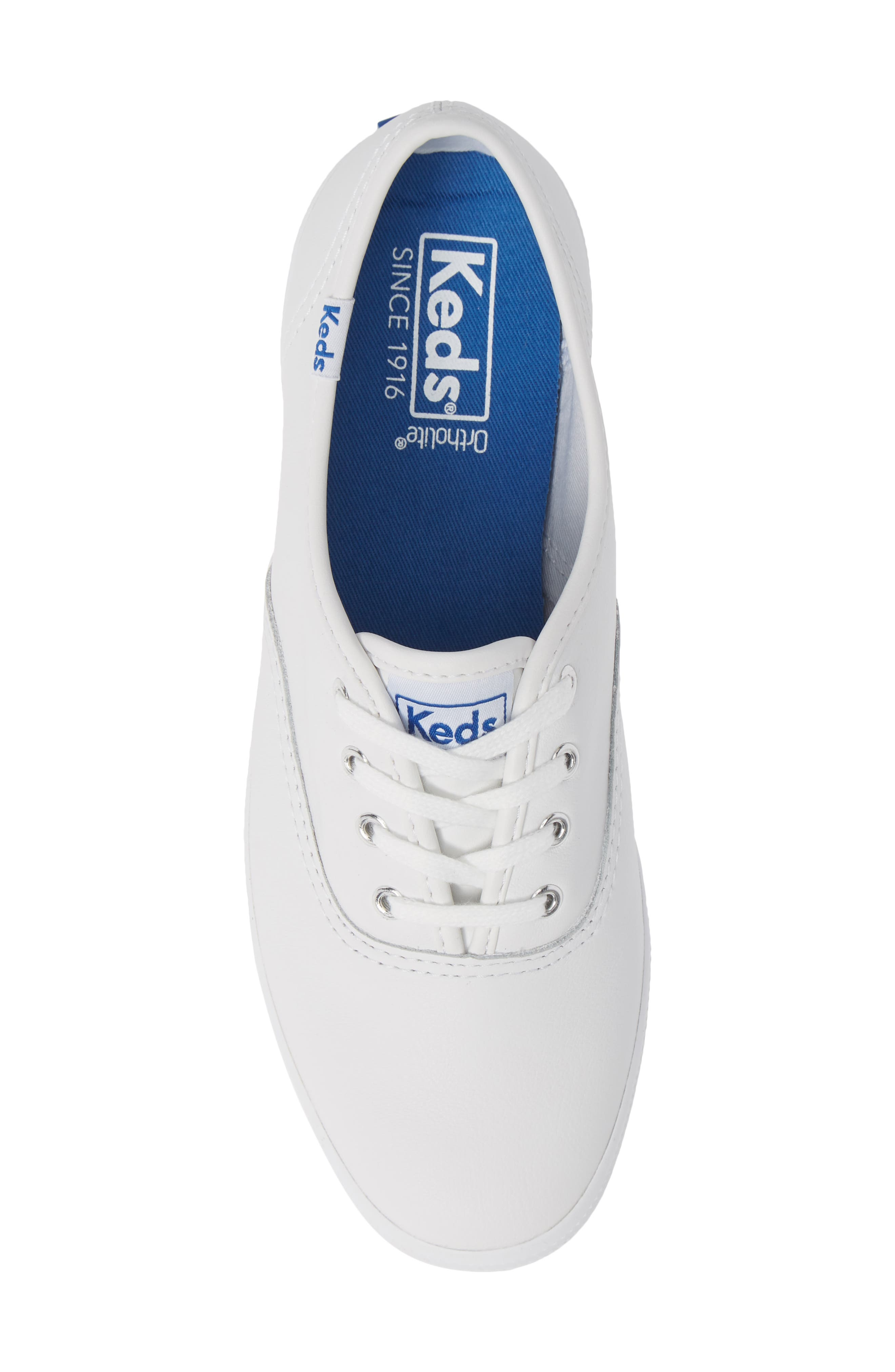 KEDS<SUP>®</SUP>, 'Champion  Leather' Sneaker, Alternate thumbnail 6, color, White