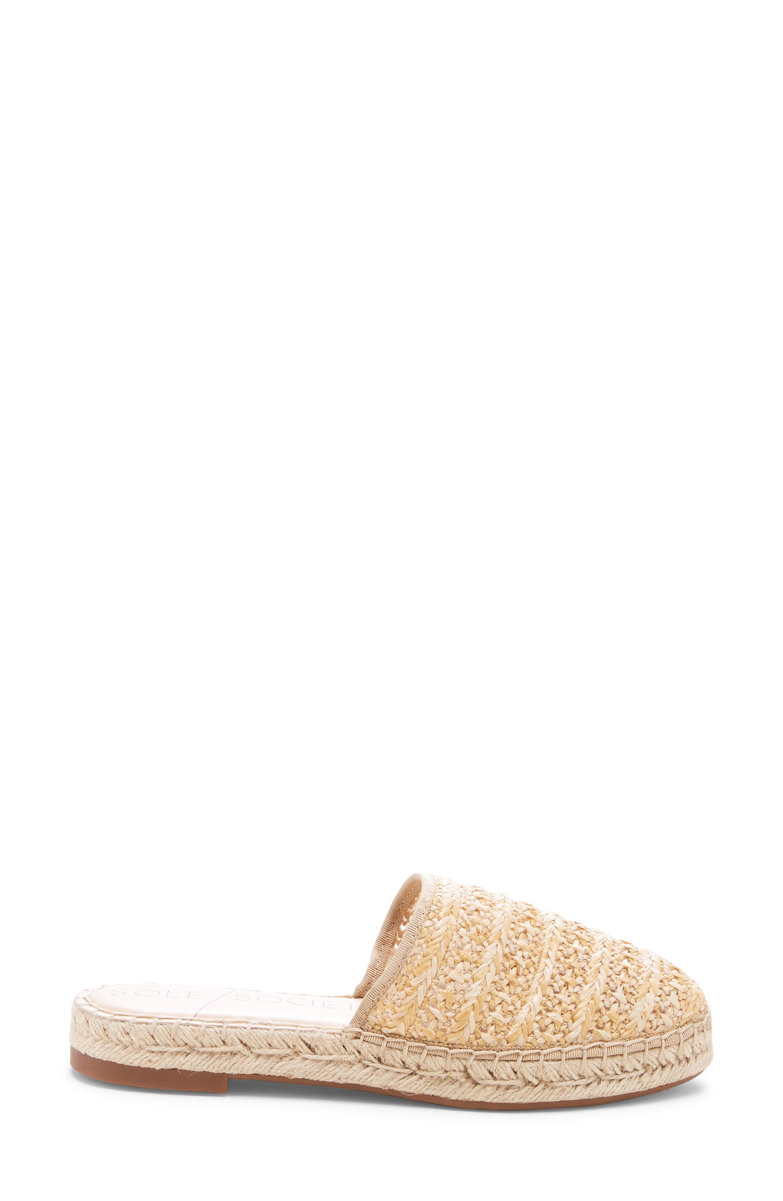 SOLE SOCIETY, Sadelle Espadrille Mule, Alternate thumbnail 3, color, NATURAL FABRIC