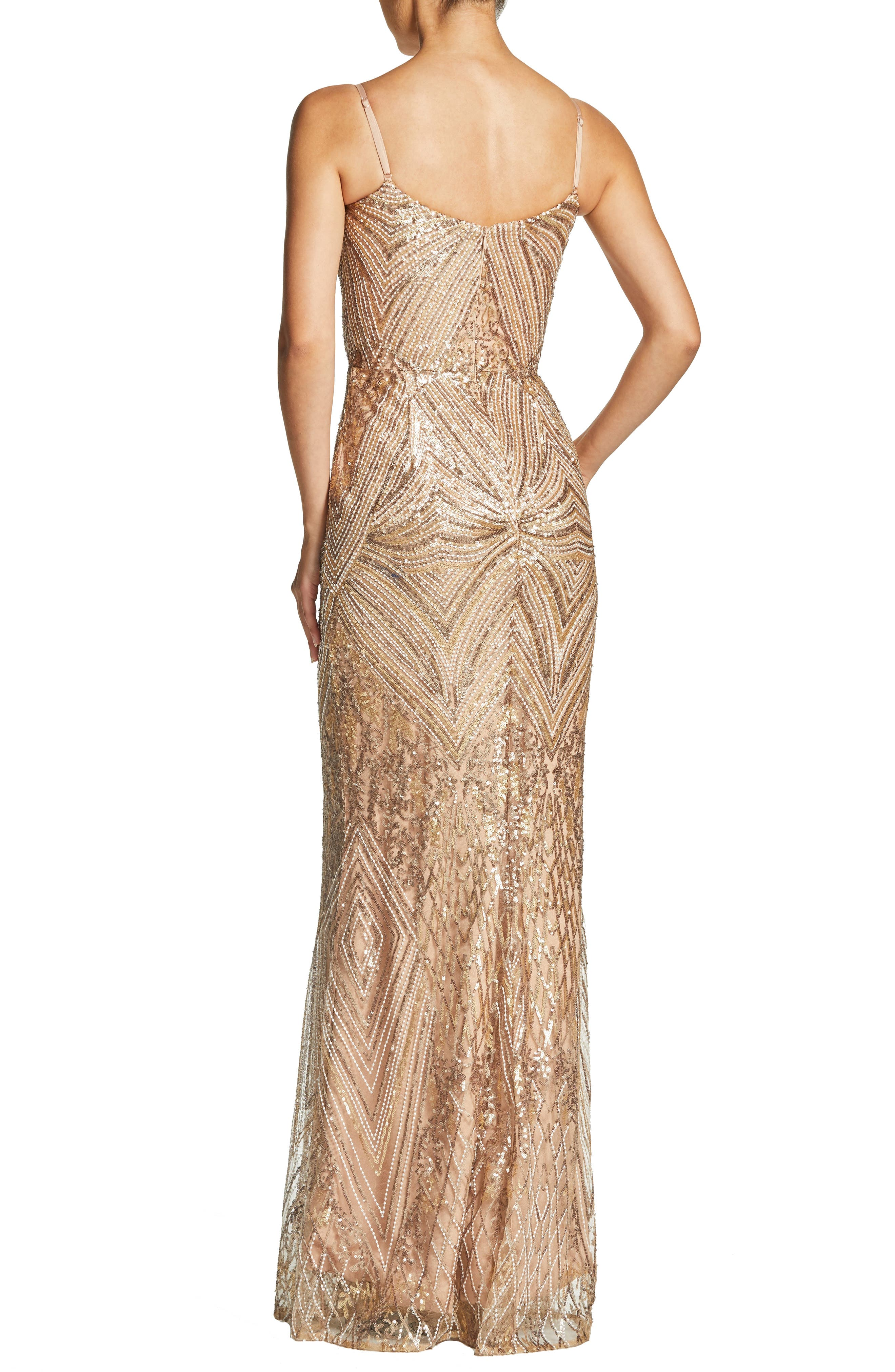 DRESS THE POPULATION, Mara Art Deco Sequin Trumpet Gown, Alternate thumbnail 2, color, GOLD/ BRASS