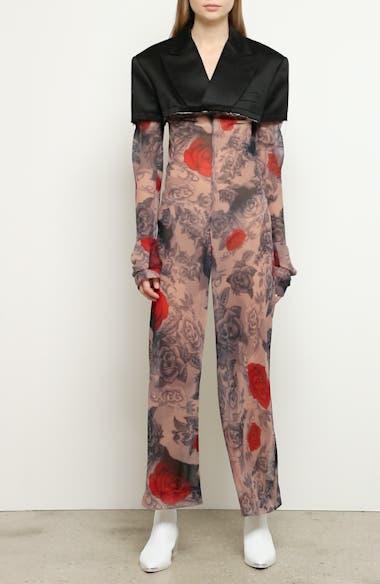Cotton Blazer & Rose Tattoo Mesh Jumpsuit, video thumbnail