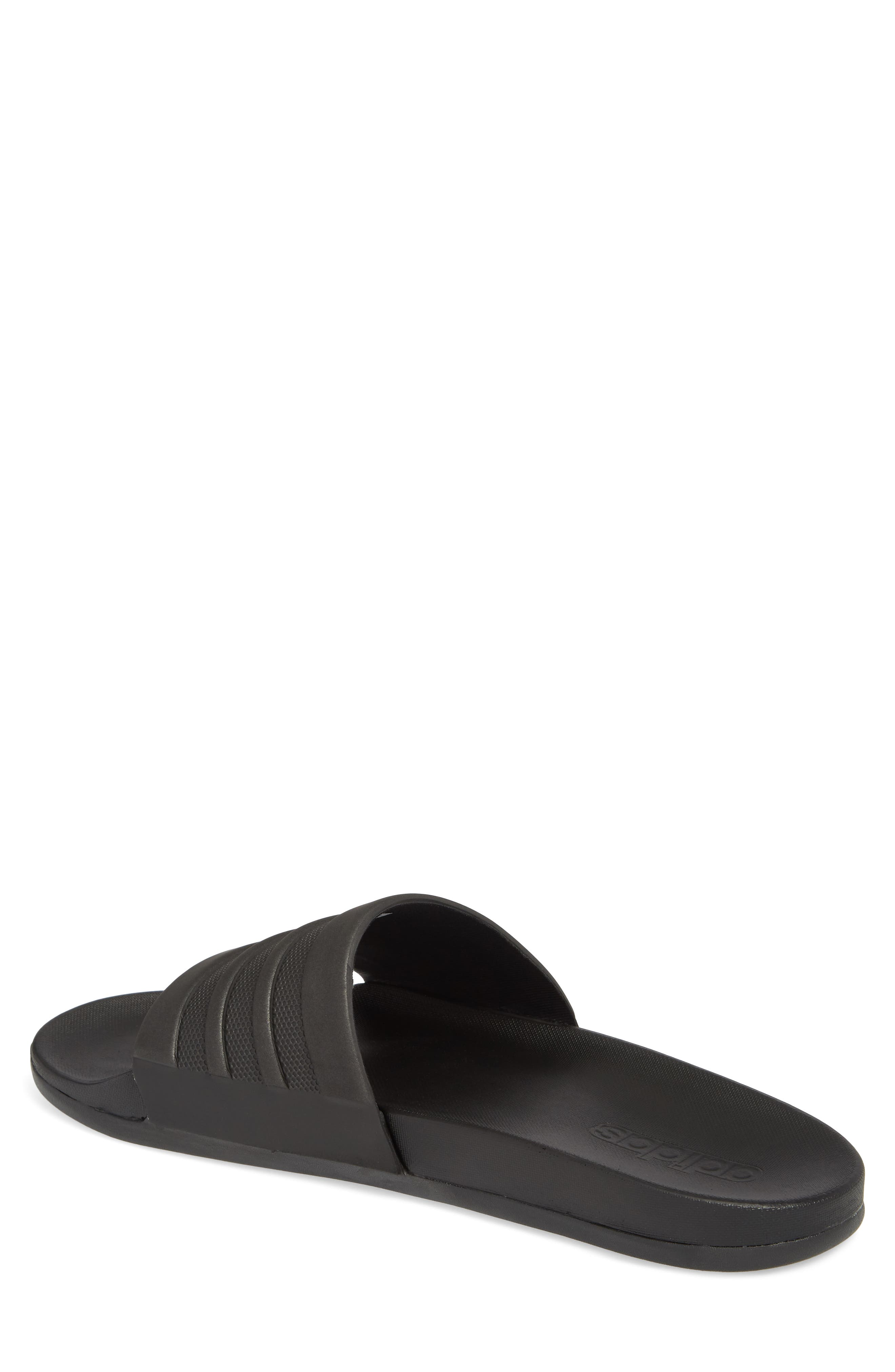 ADIDAS, Adilette Cloudfoam Mono Sport Slide Sandal, Alternate thumbnail 2, color, BLACK/ BLACK
