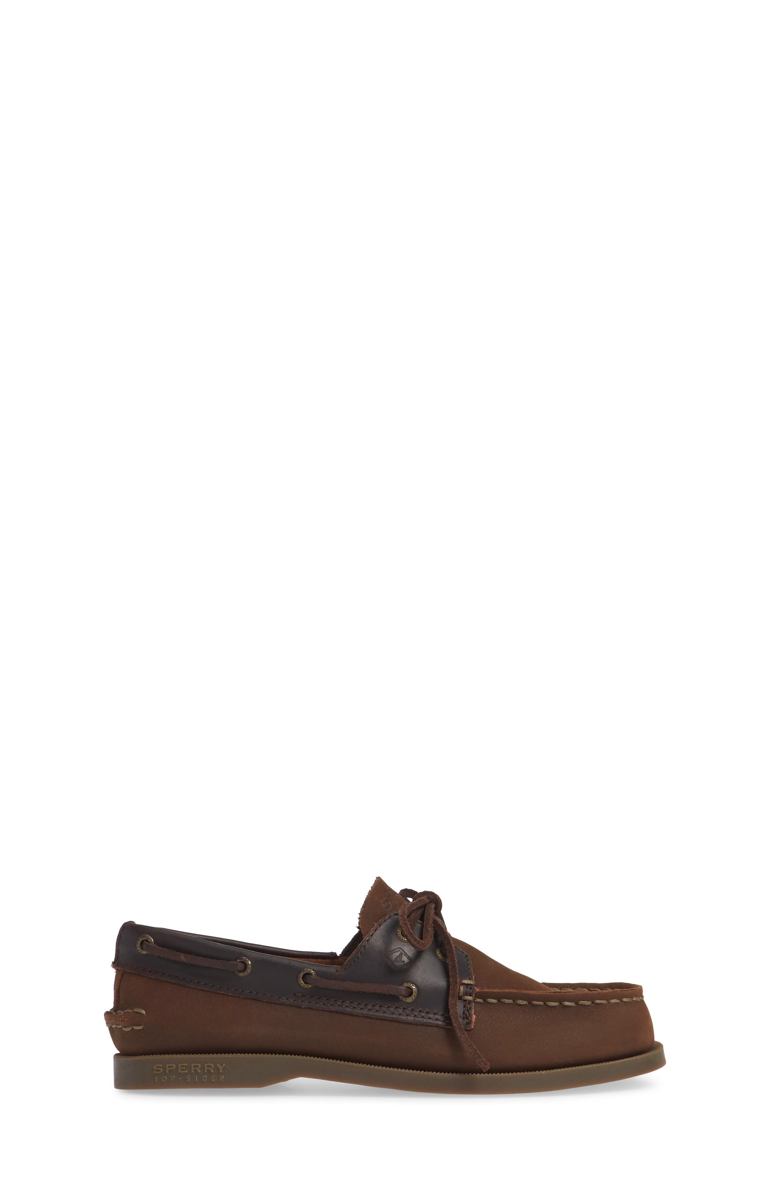 SPERRY KIDS, 'Authentic Original' Boat Shoe, Alternate thumbnail 3, color, BROWN BUCK LEATHER