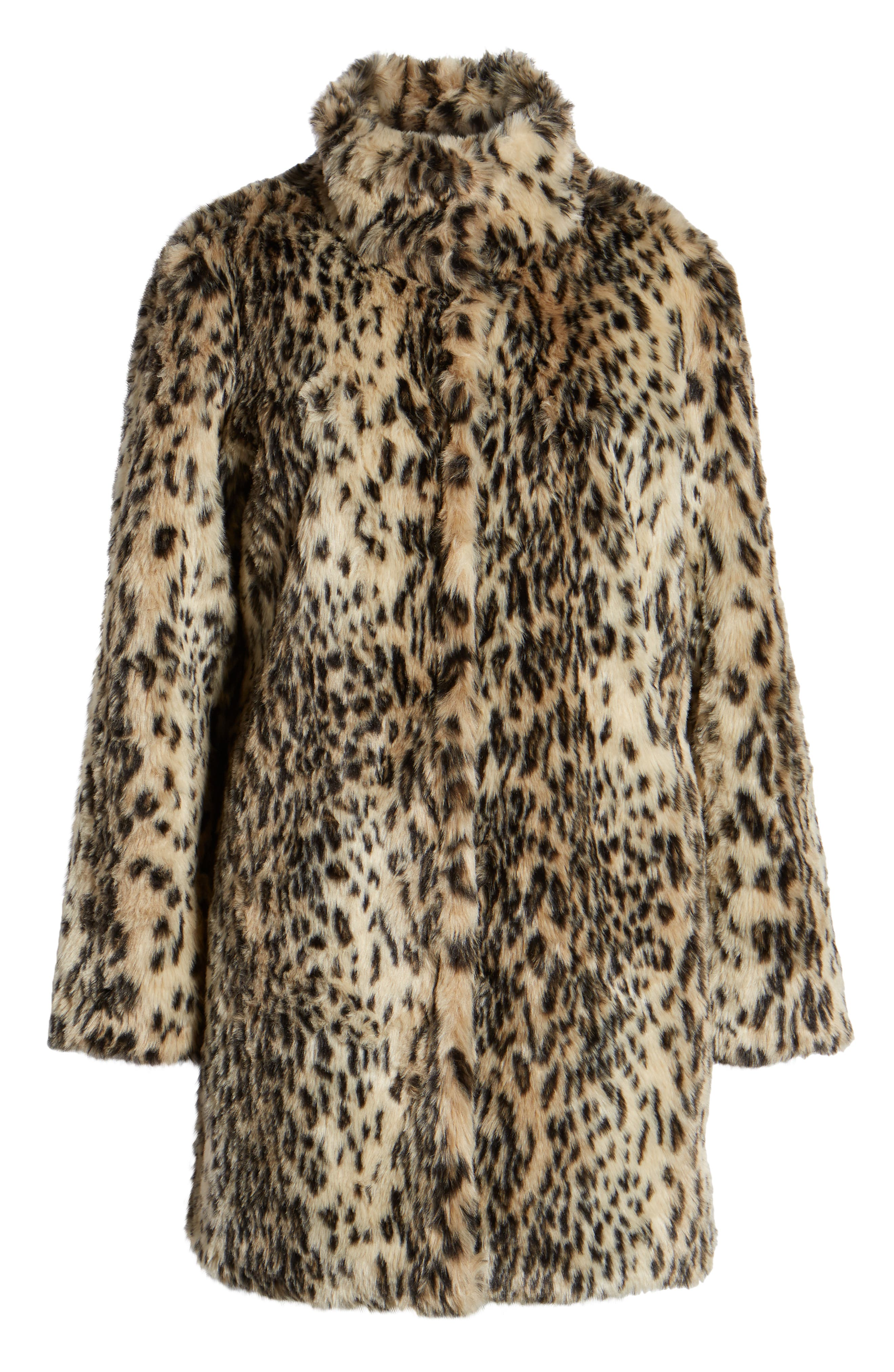 CUPCAKES AND CASHMERE, Leopard Faux Fur Coat, Alternate thumbnail 6, color, 009