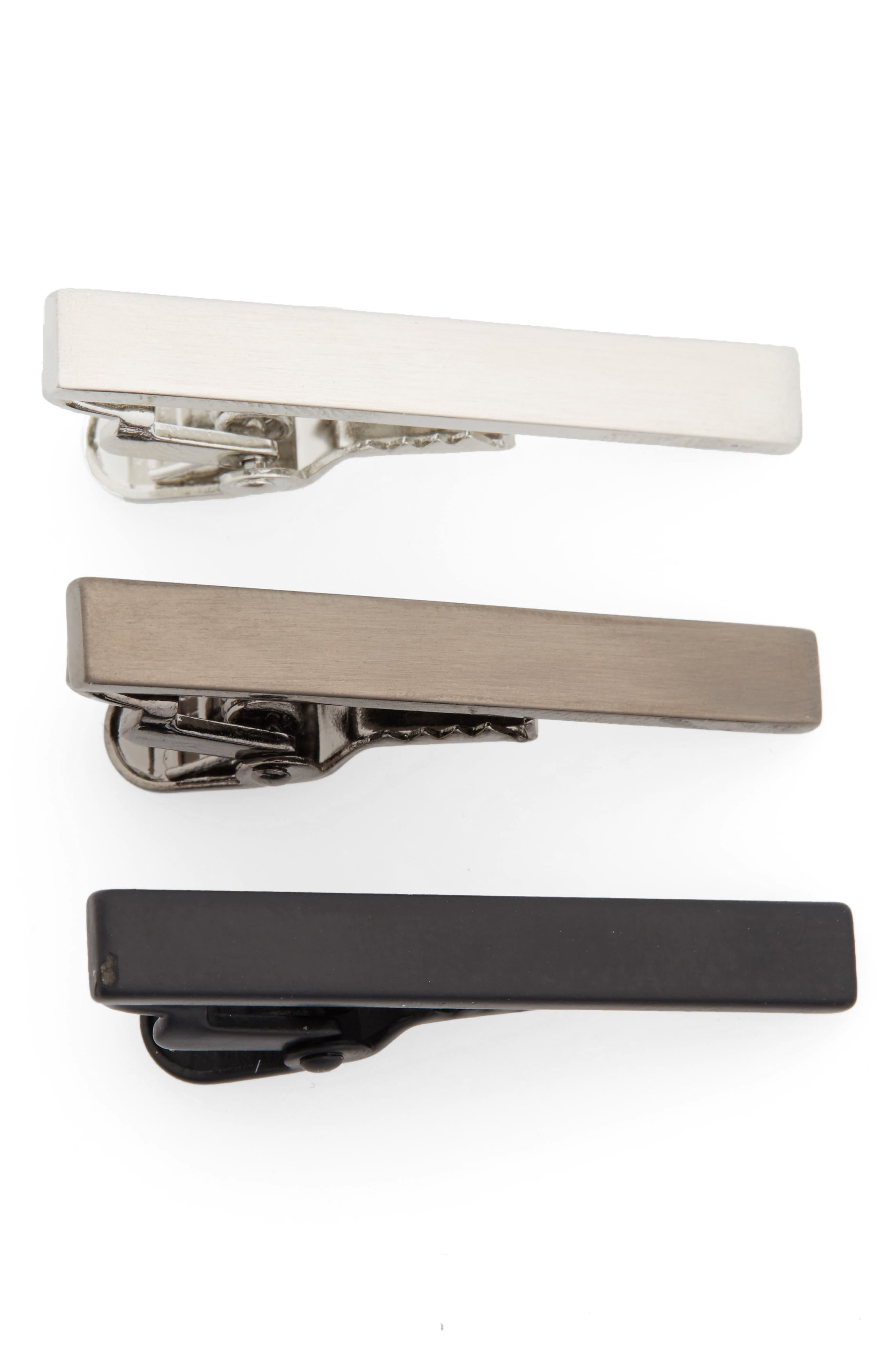 NORDSTROM MEN'S SHOP, 3-Pack Tie Bar Set, Main thumbnail 1, color, GUNMETAL/ SILVER/ BLACK